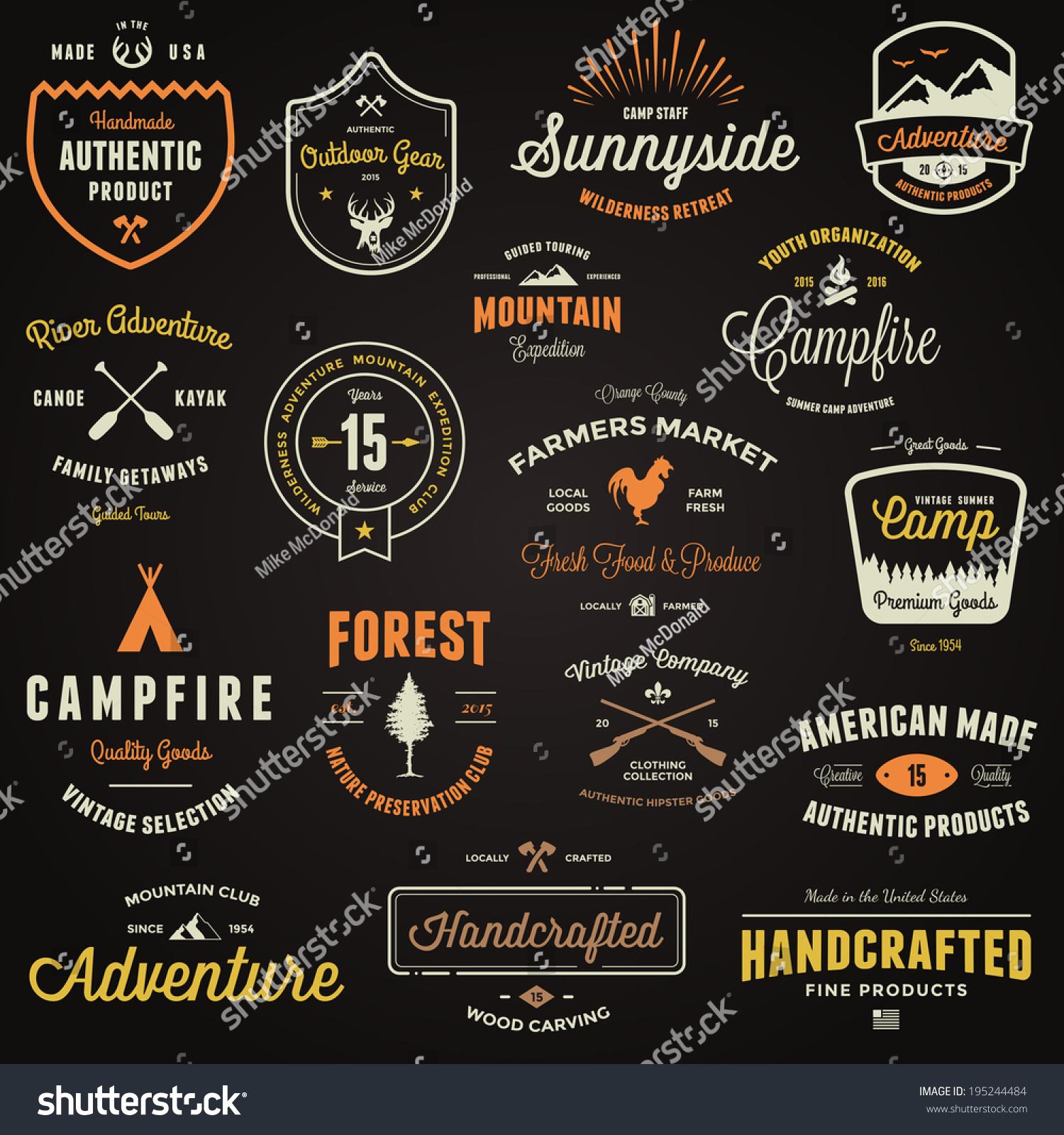 set retro vintage badges label logo stock vector royalty free