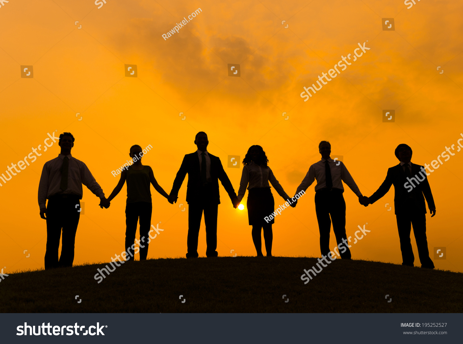 Group of Business People Holding Hand #195252527