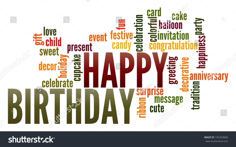 Happy Birthday Word Collage Stock Illustration 195269060 ...