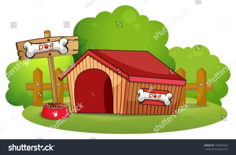 illustration doghouse backyard on white background stock vector