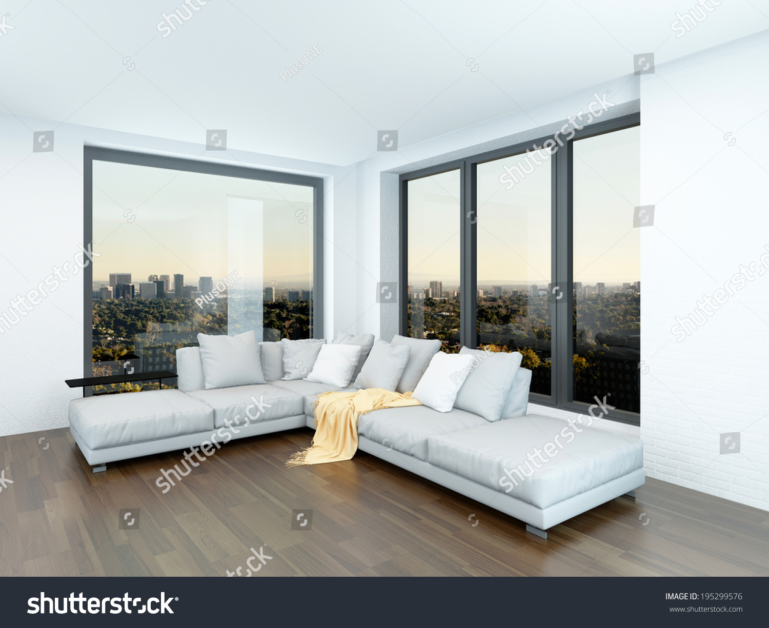 Modern Minimalist Sitting Room Interior With A Corner Unit In Front Of Two View Windows On