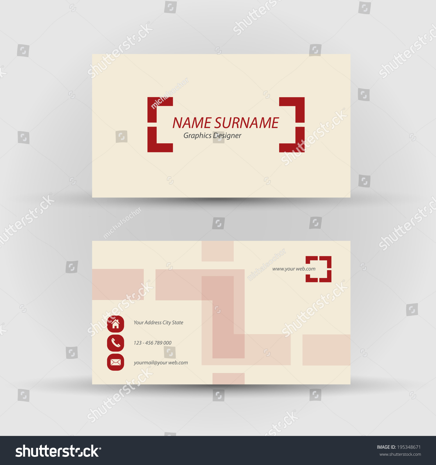 Set Modern Vector Business Card Template Stock Vector 195348671 ...