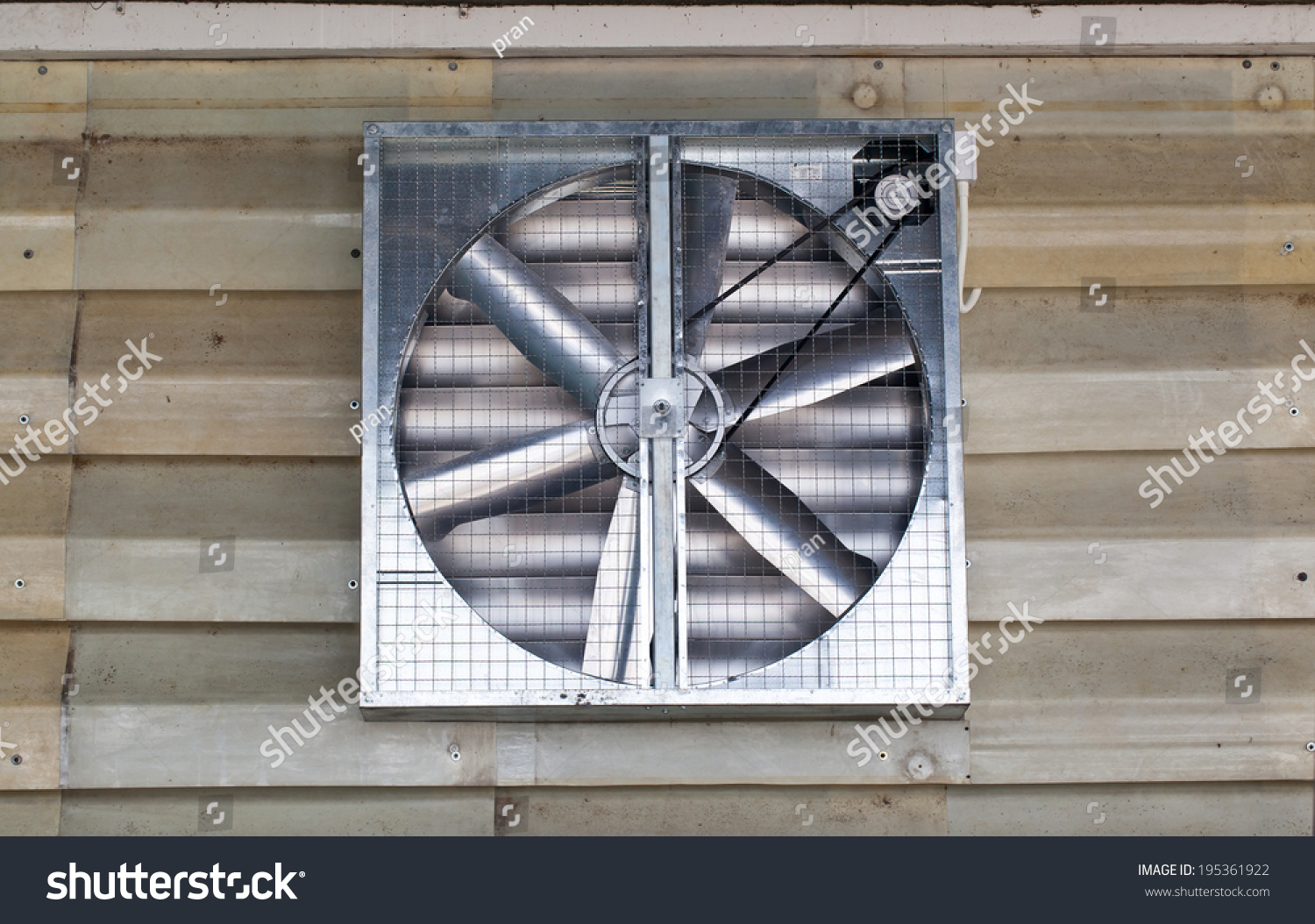 Building Exhaust Fans : Industrial building exhaust fan and windows stock photo