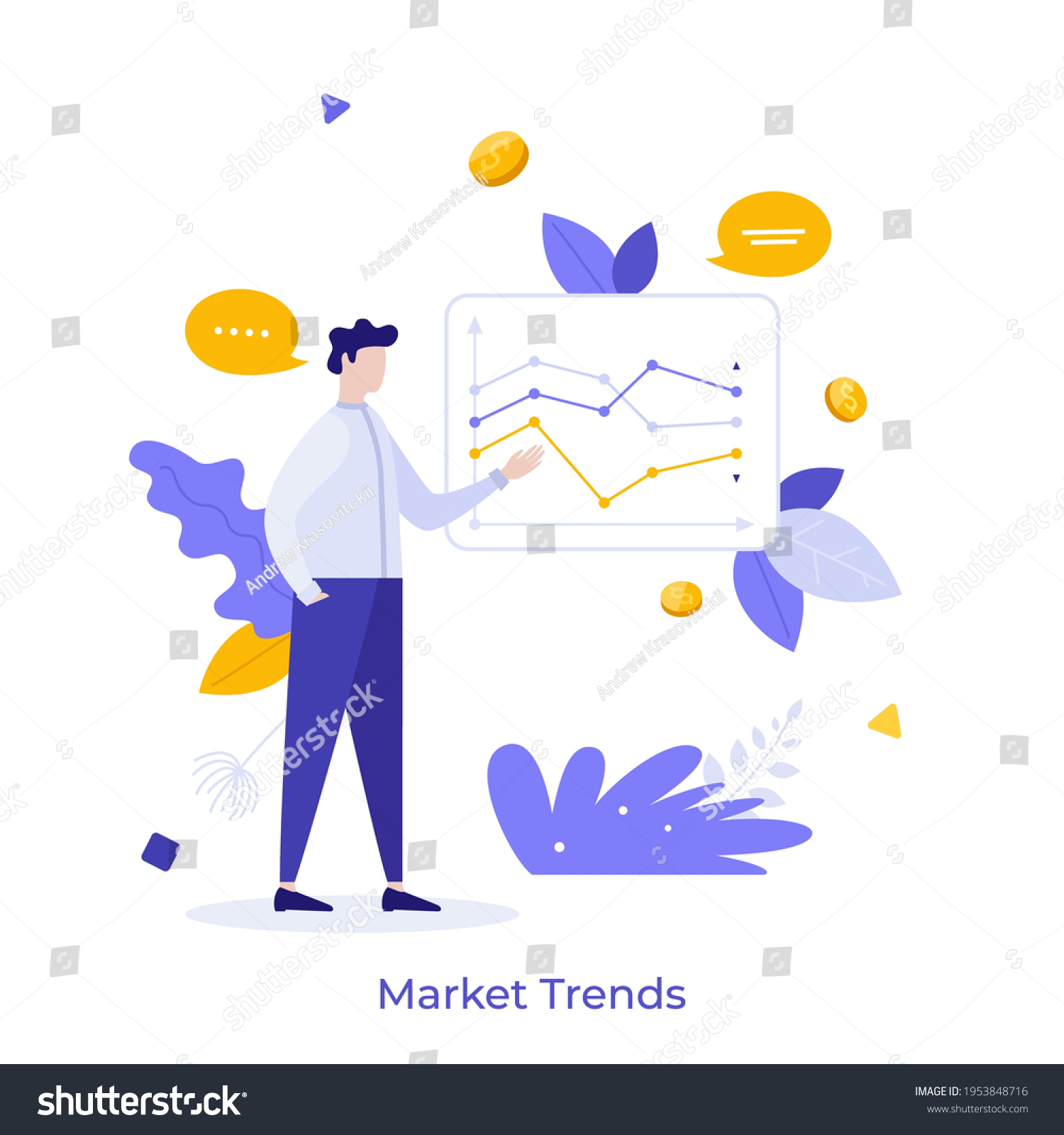 Stockbroker demonstrating and analyzing stock exchange charts. Concept of market trends analysis and research, investment strategy, IPO. Modern flat colorful vector illustration for poster, banner. #1953848716
