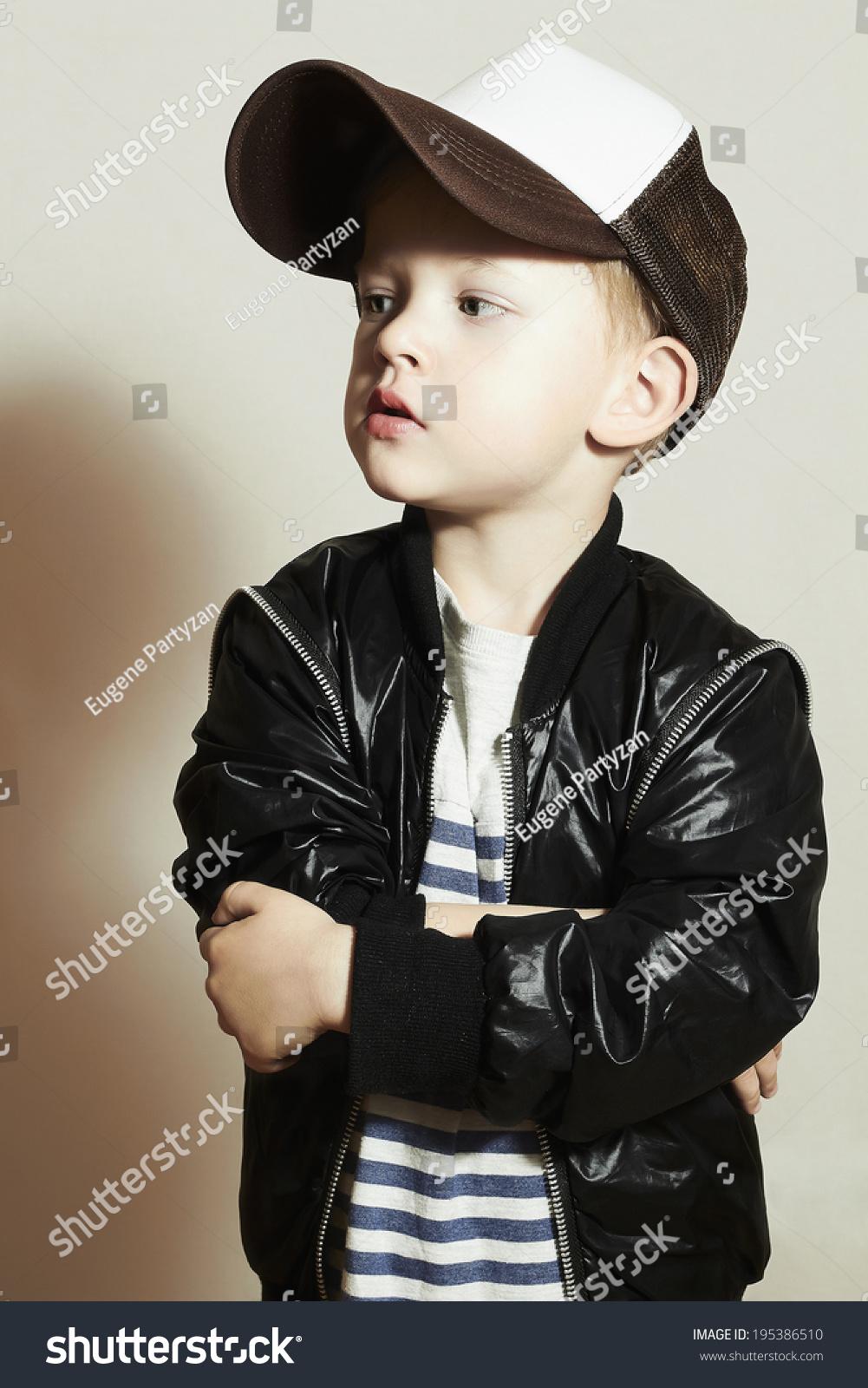 Fashionable Little Boy Hip Hop Style Fashion Children Handsome Blond Kid With Big Blue Eyes