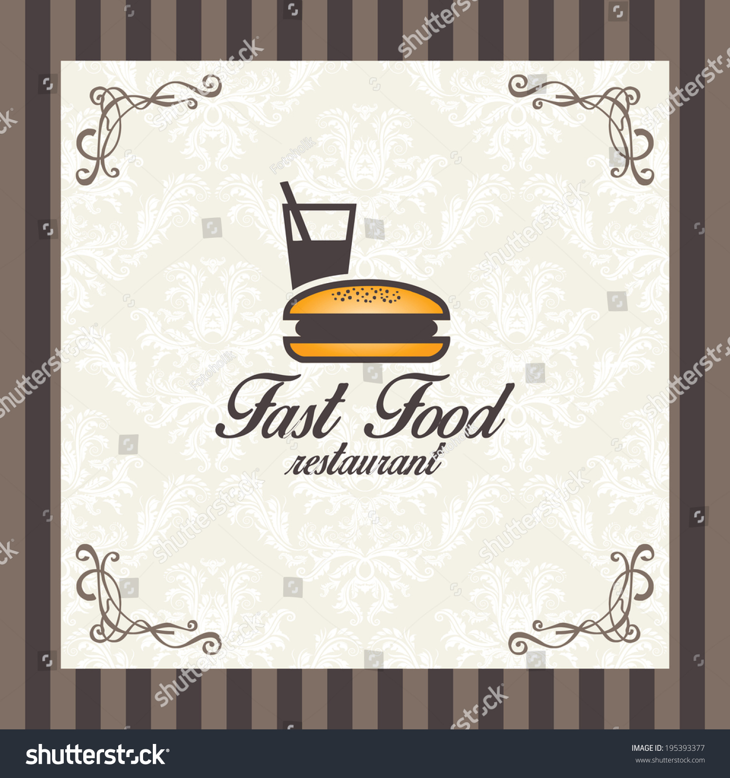 vintage fast food restaurant menu cover stock vector (royalty free
