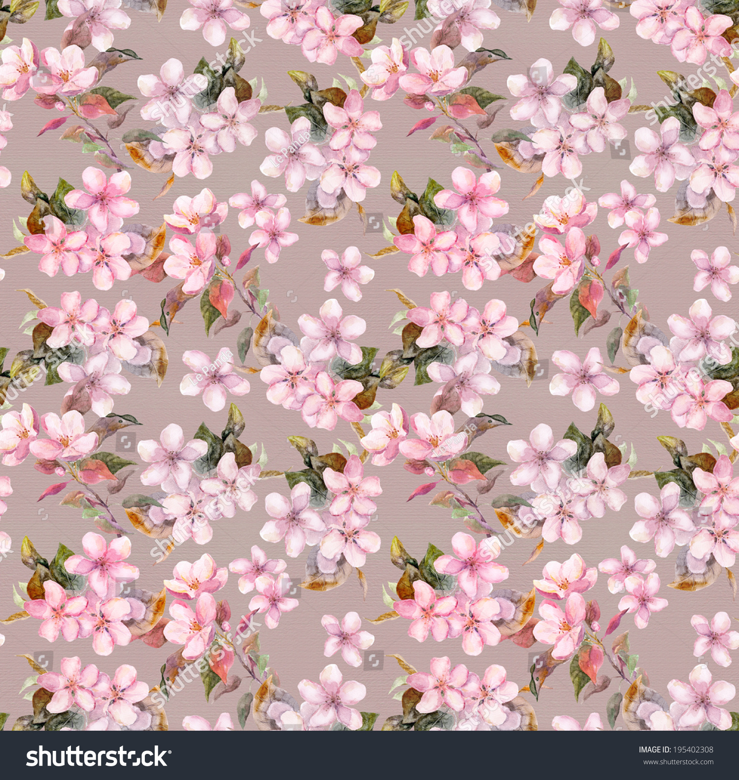 vintage pink apple cherry sakura flowers seamless floral wallpaper retro aquarelle