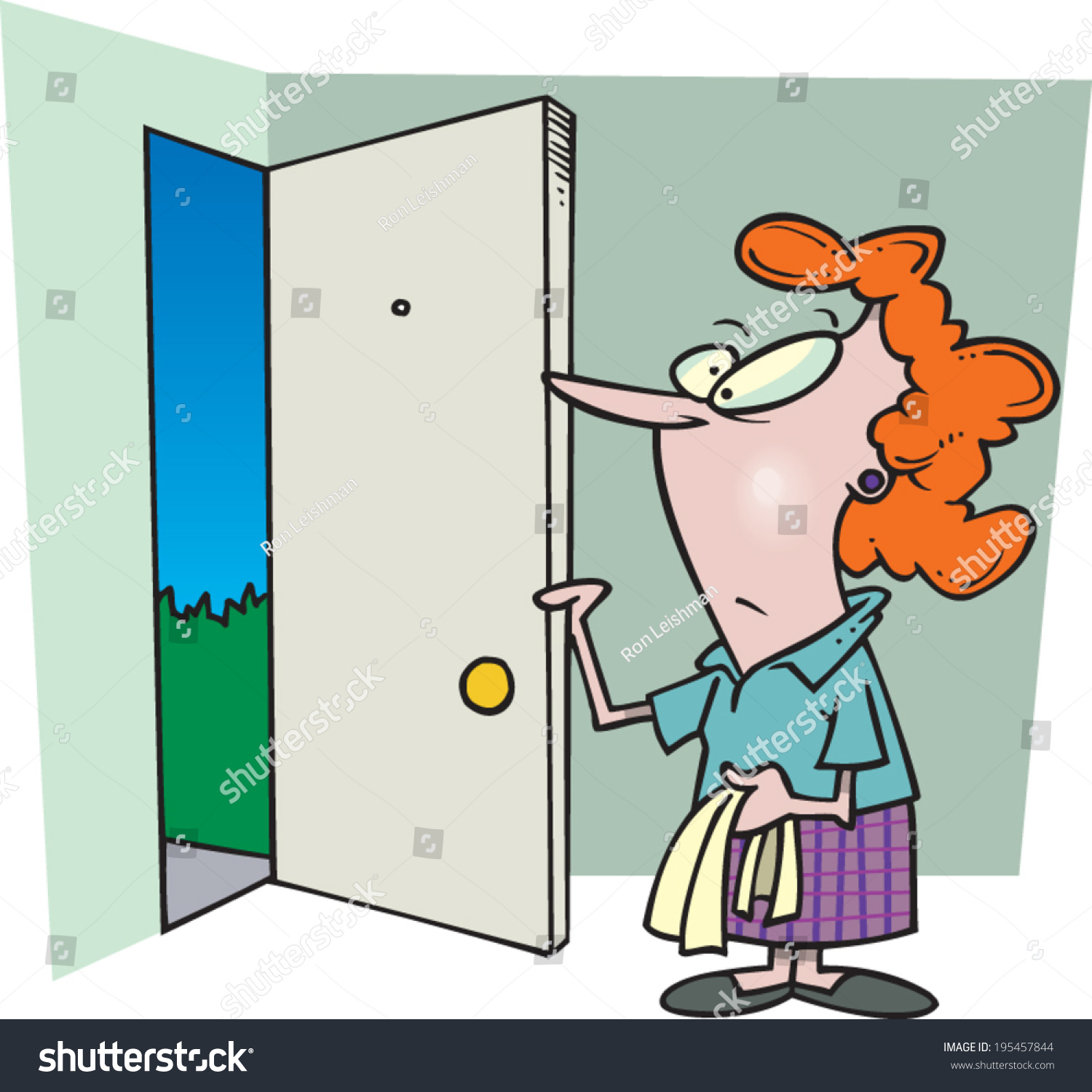Cartoon Woman Opening Her Front Door Stock Vector Royalty Free