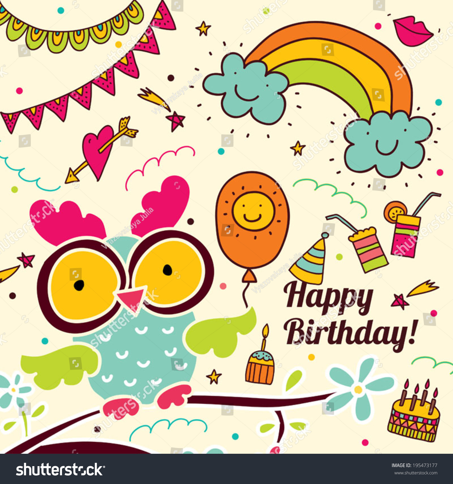 Happy Birthday Cute Postcard Owl Stock Vector 195473177