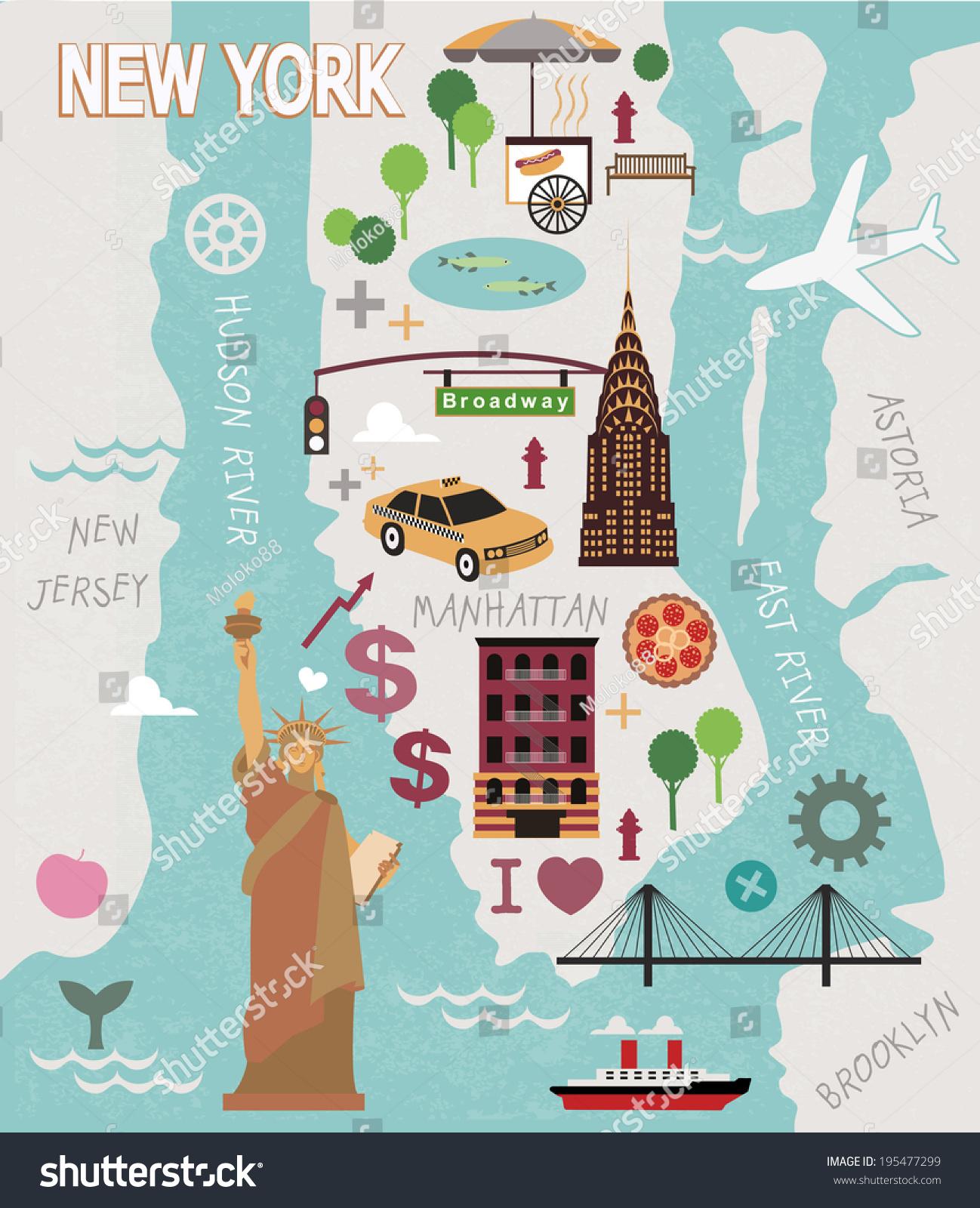 New City Thuận Việt thủ thiêm liền kề Khu thành thị Sala Đại quang Minh cao cấp và The Sun Avenue  stock-vector-cartoon-map-of-new-york-city-195477299