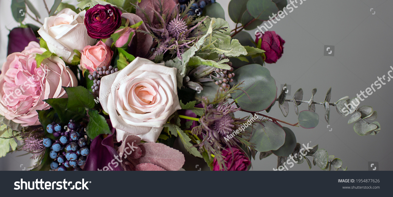 floral background. A long floral banner. Floristics. Purple and green. Colorful bouquet in cool colors. #1954877626