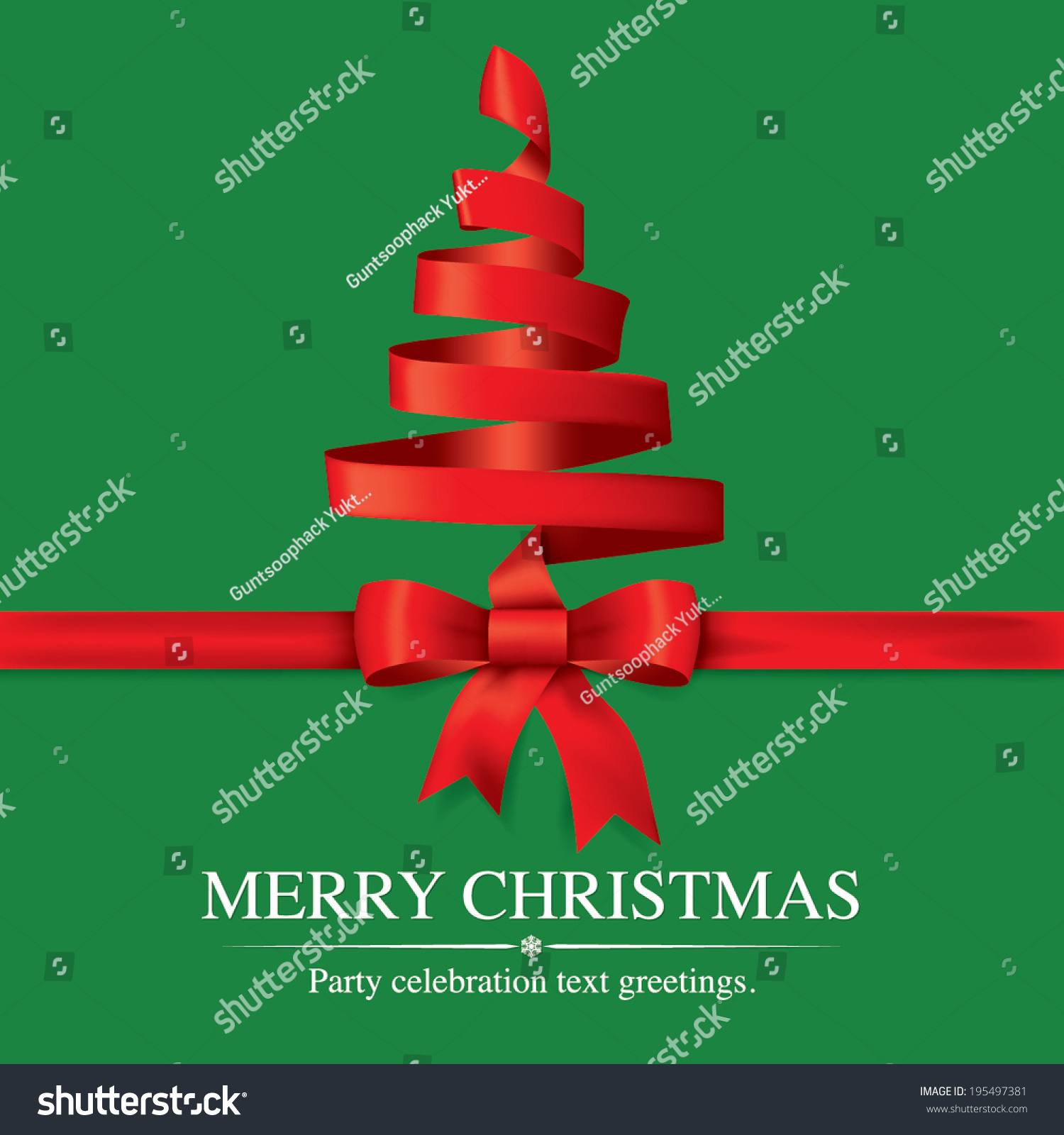 Christmas Tree With Red Ribbon: Christmas Tree From Red Ribbon Vector Background
