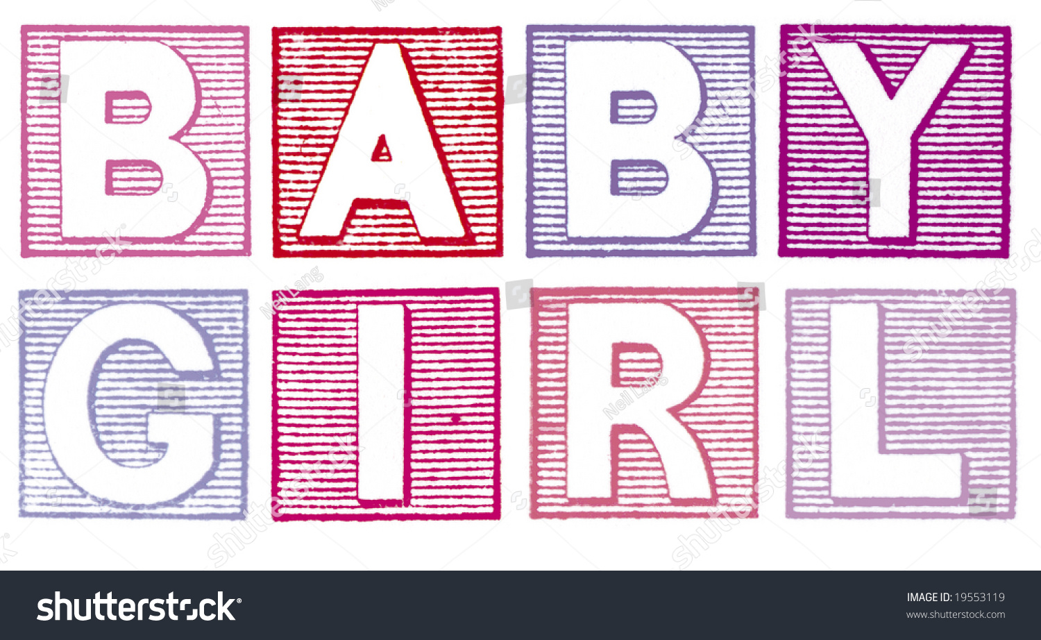 Stock Photo Baby Girl Written In Blue Vintage Rubber Stamp Letters on Form An Alphabet View