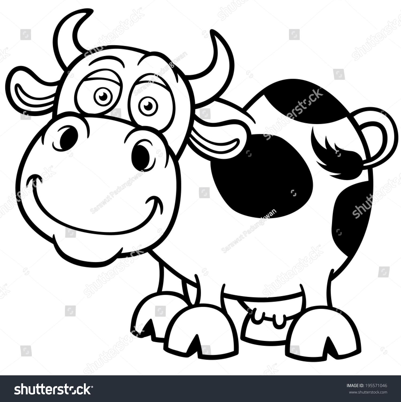 Vector Illustration Cartoon Cow Coloring Book Stock Vector (2018 ...