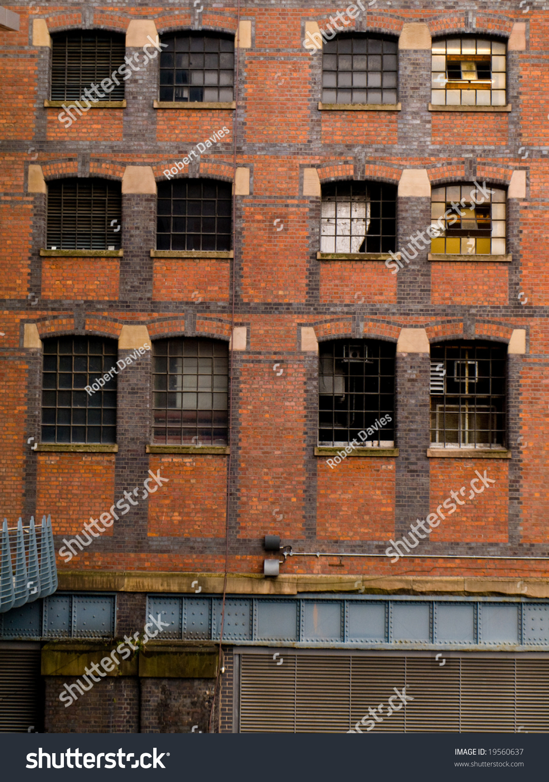 Old Red Brick Warehouse Building Windows Stock Photo