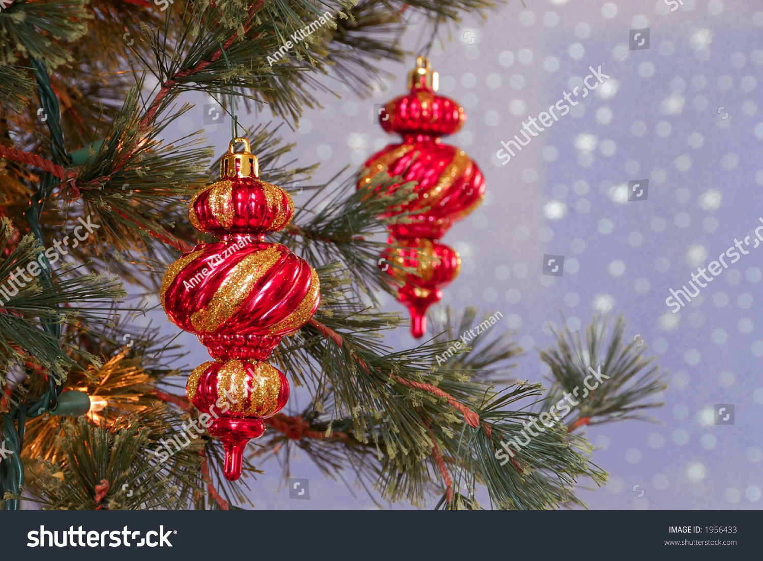 Holiday Pine Tree With A Gold And Red