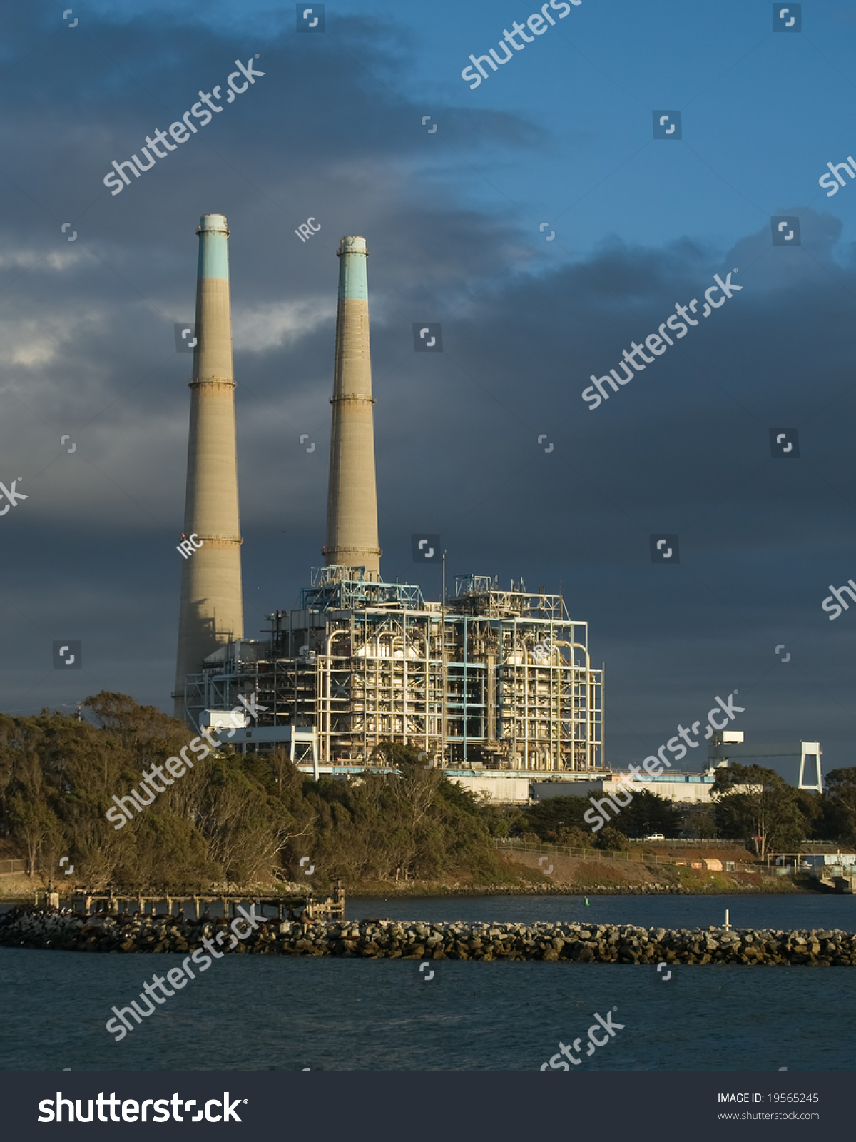 California Natural Gas Power Plant Sunset Stock