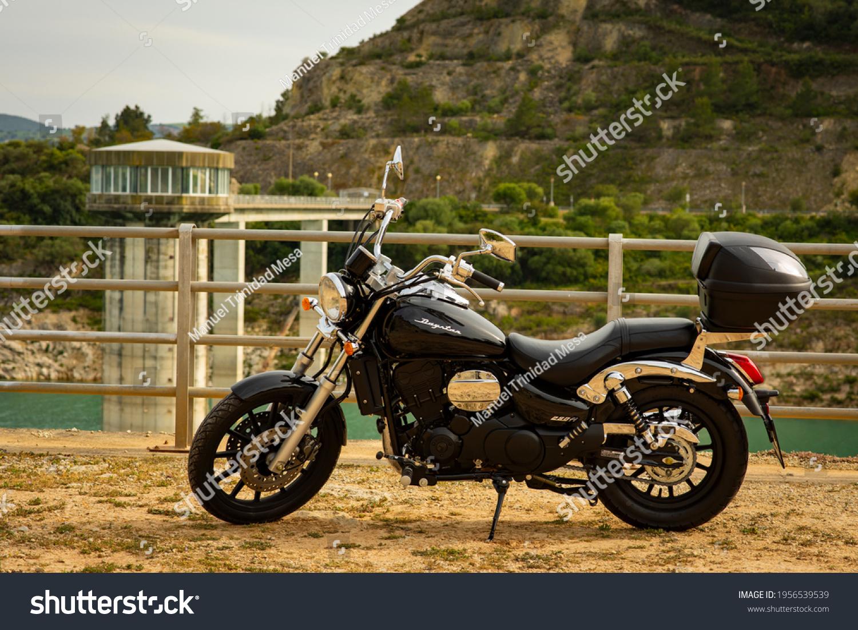 Cadiz, Andalusia, Spain, April 09, 2021 Daelim Daystar 250 fi motorcycle, in the field.