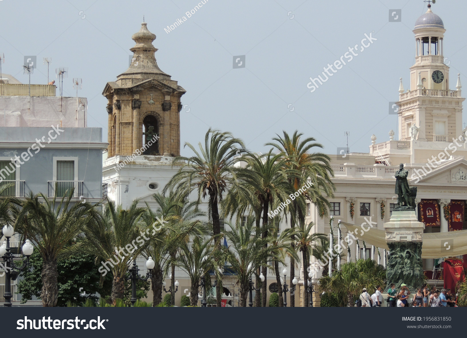 Cadiz,Spain,June 2015,the downtown of Cadiz on a special holiday