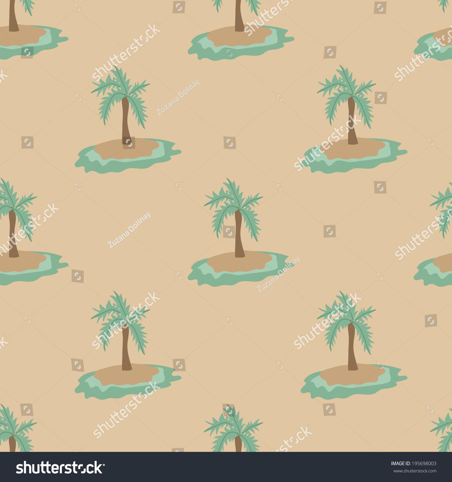 Kawaii Island Go Vacation: Cute Island Pattern Stock Vector 195698003