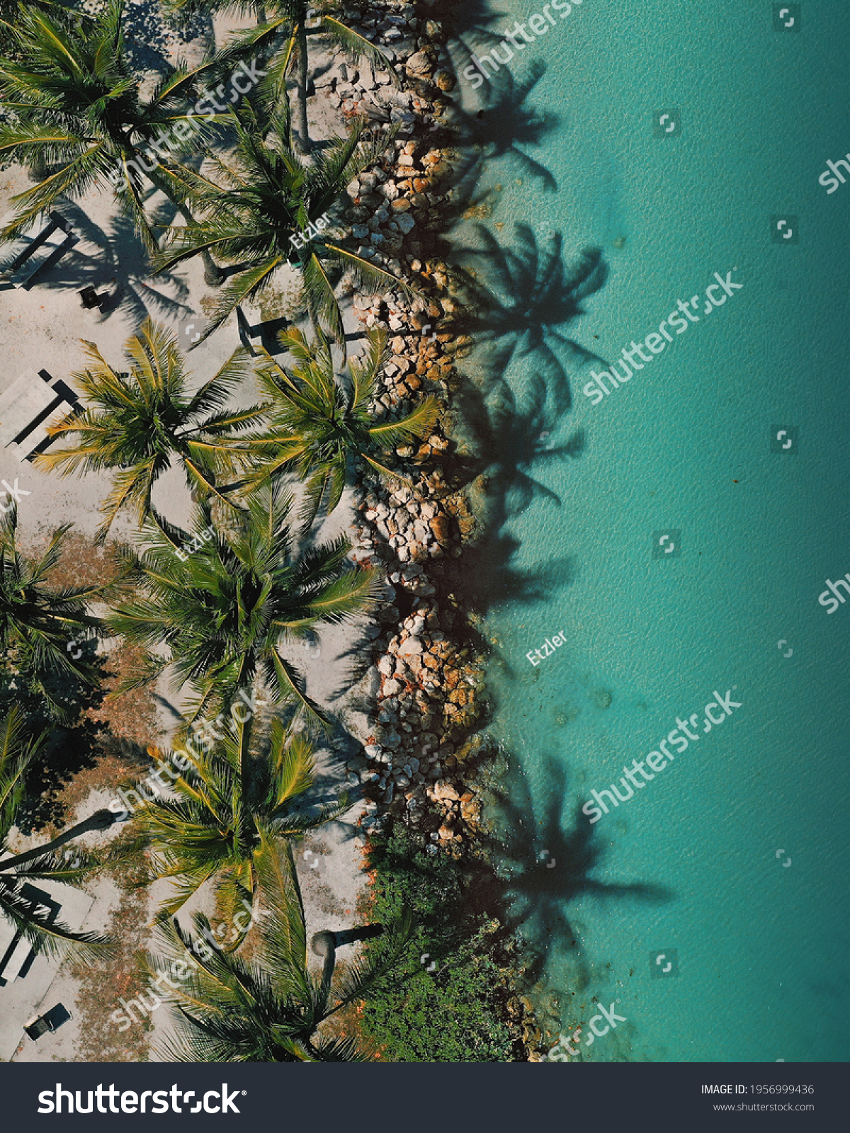 Drone flying above the coastline  #1956999436