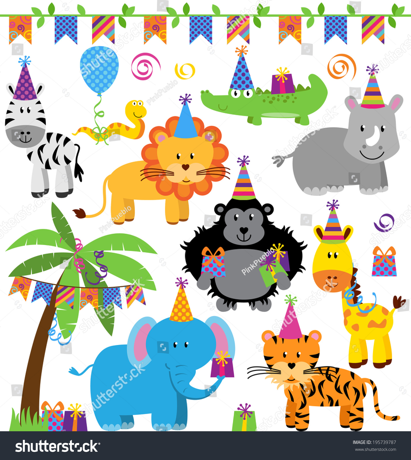Vector Collection Birthday Party Themed Jungle Stock
