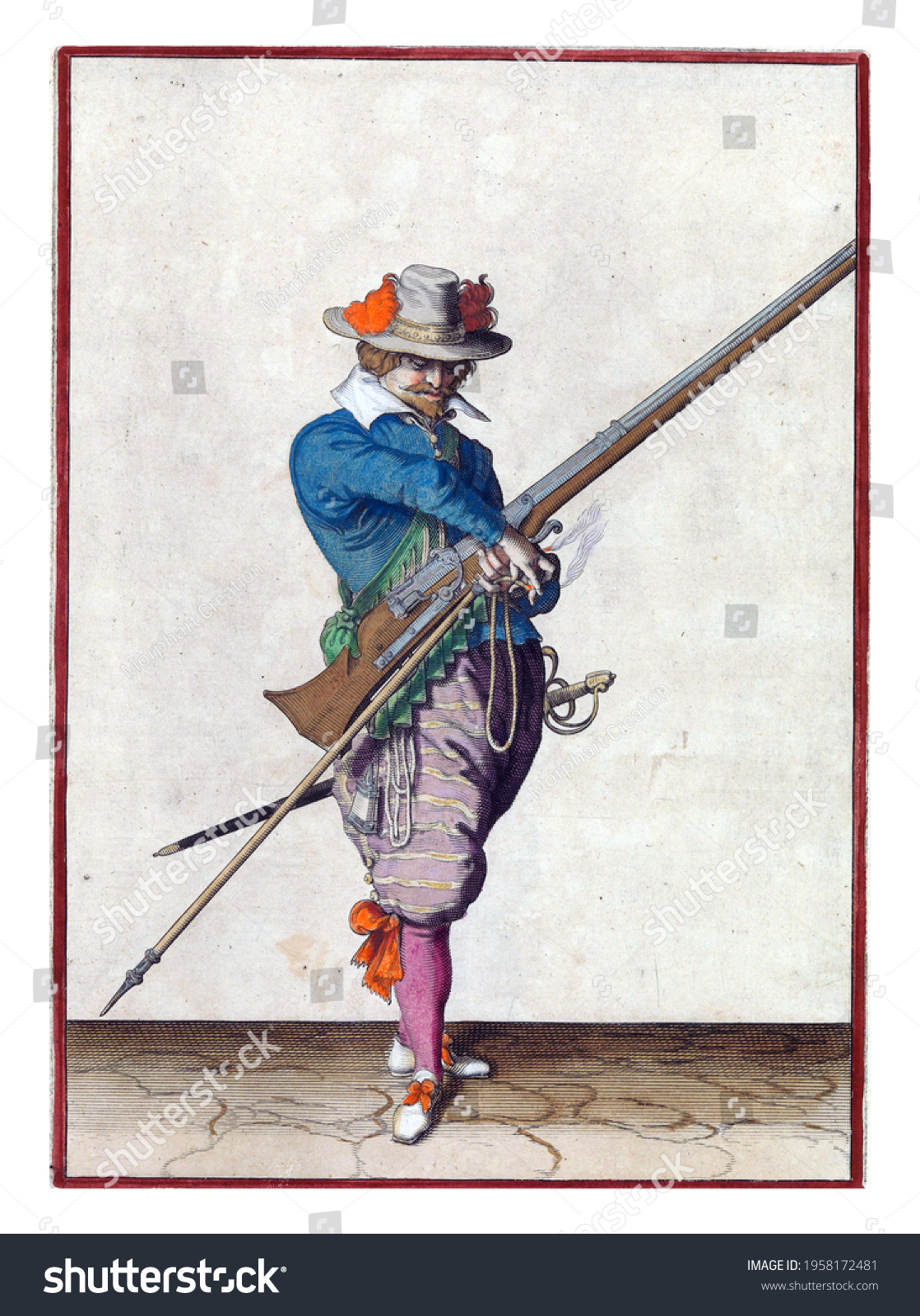 A soldier, full-length, to the right, holding a musket (a type of firearm) with his left hand. In his left hand, in addition to the musket, also a furket (musket fork) and a burning fuse #1958172481