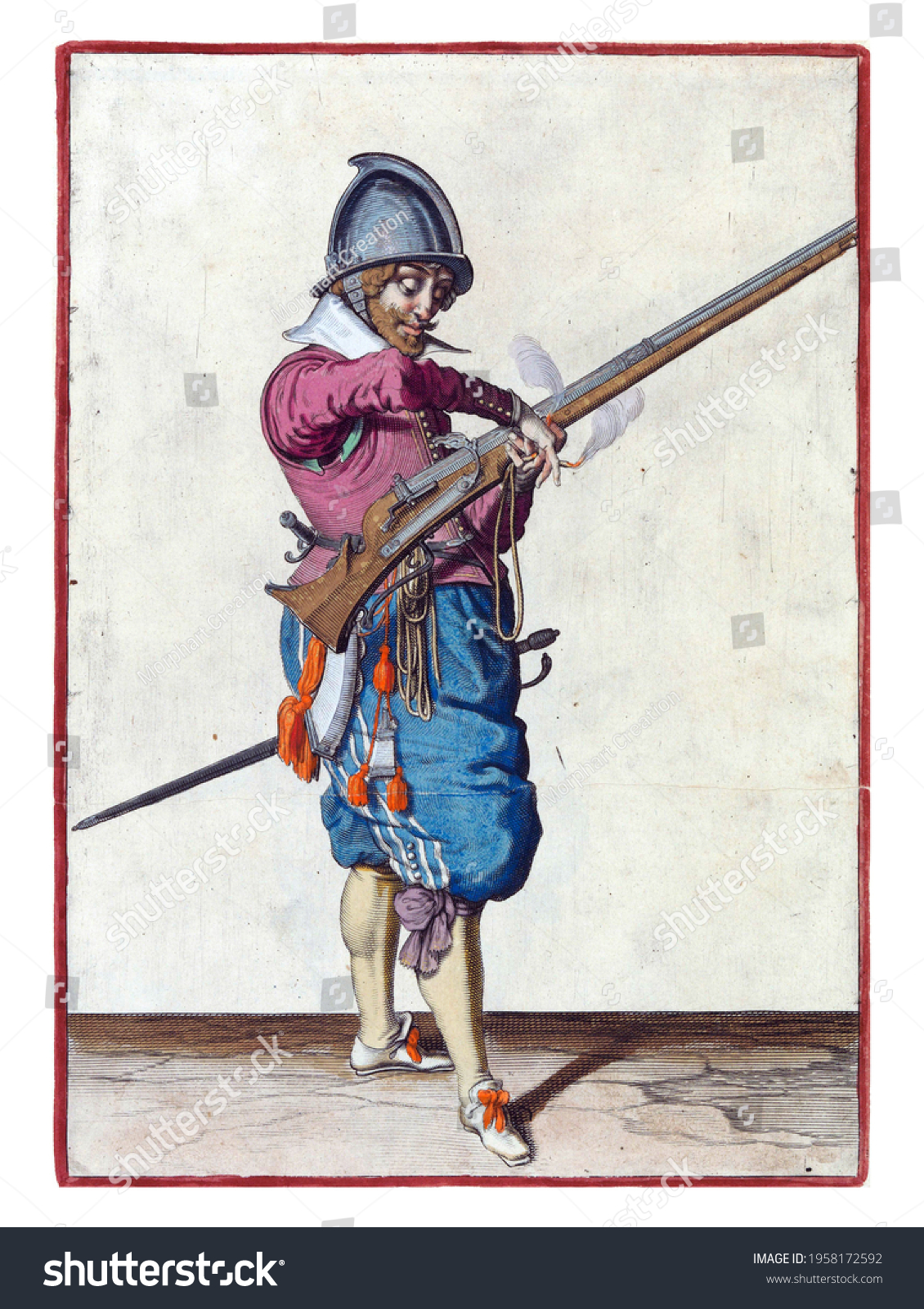 A soldier, full-length, to the right, holding a rudder (a type of firearm) with his left hand. He transfers the burning fuse in his right hand to his left #1958172592