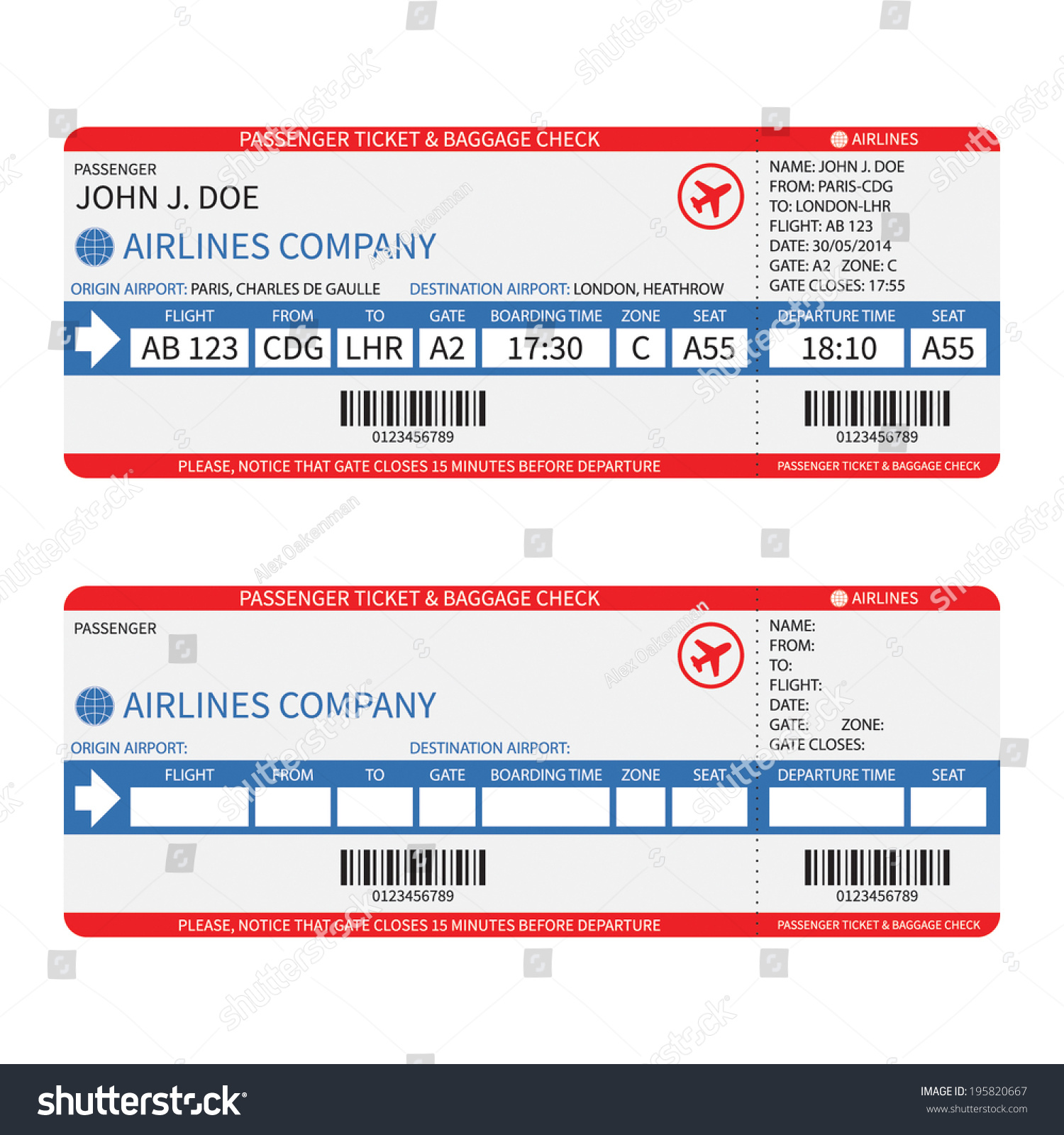 Vector Airline Passenger Baggage Boarding Pass Stock Vector Royalty