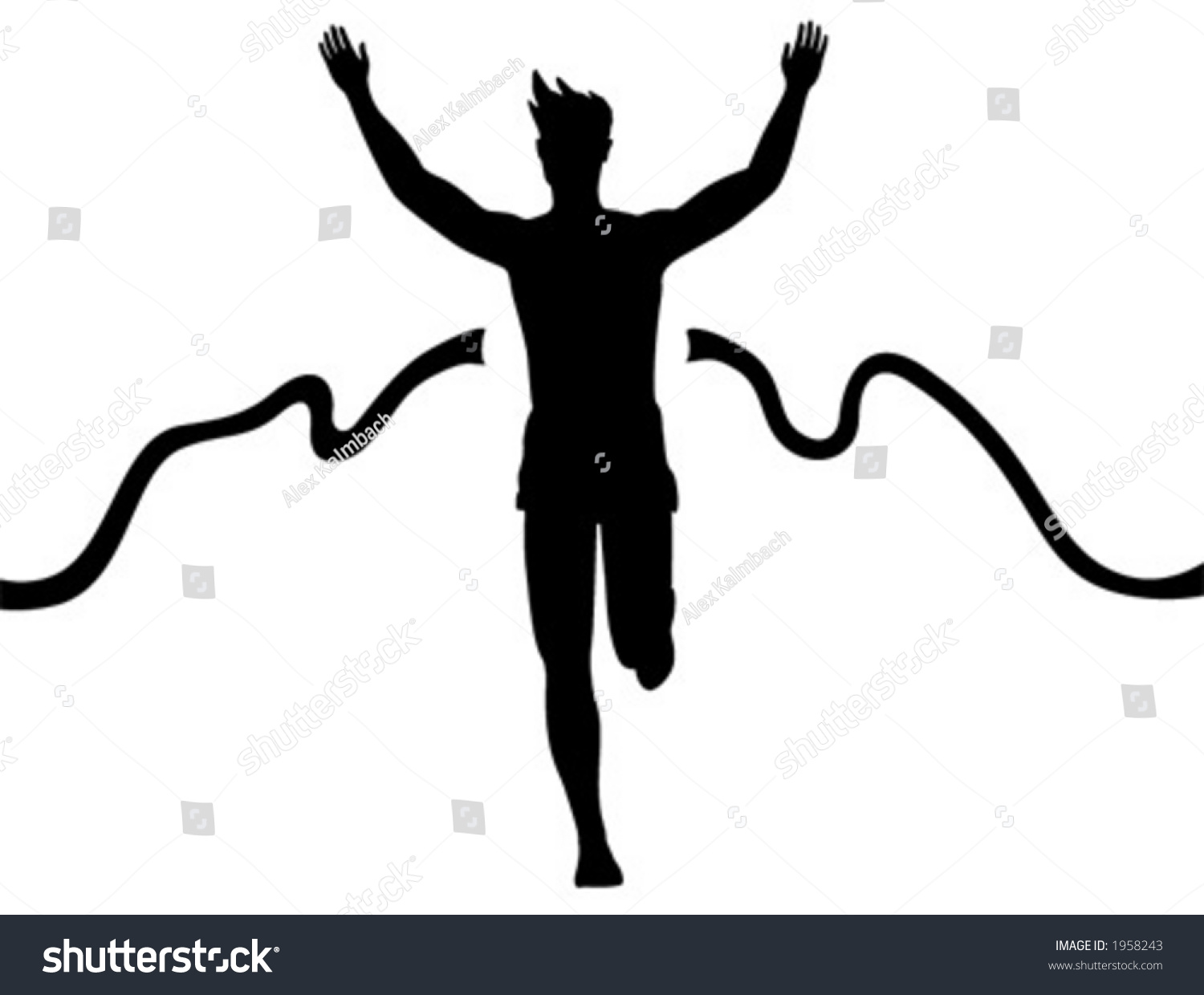Silhouette Of A Man Running Across The Finish Line Stock Vector ...