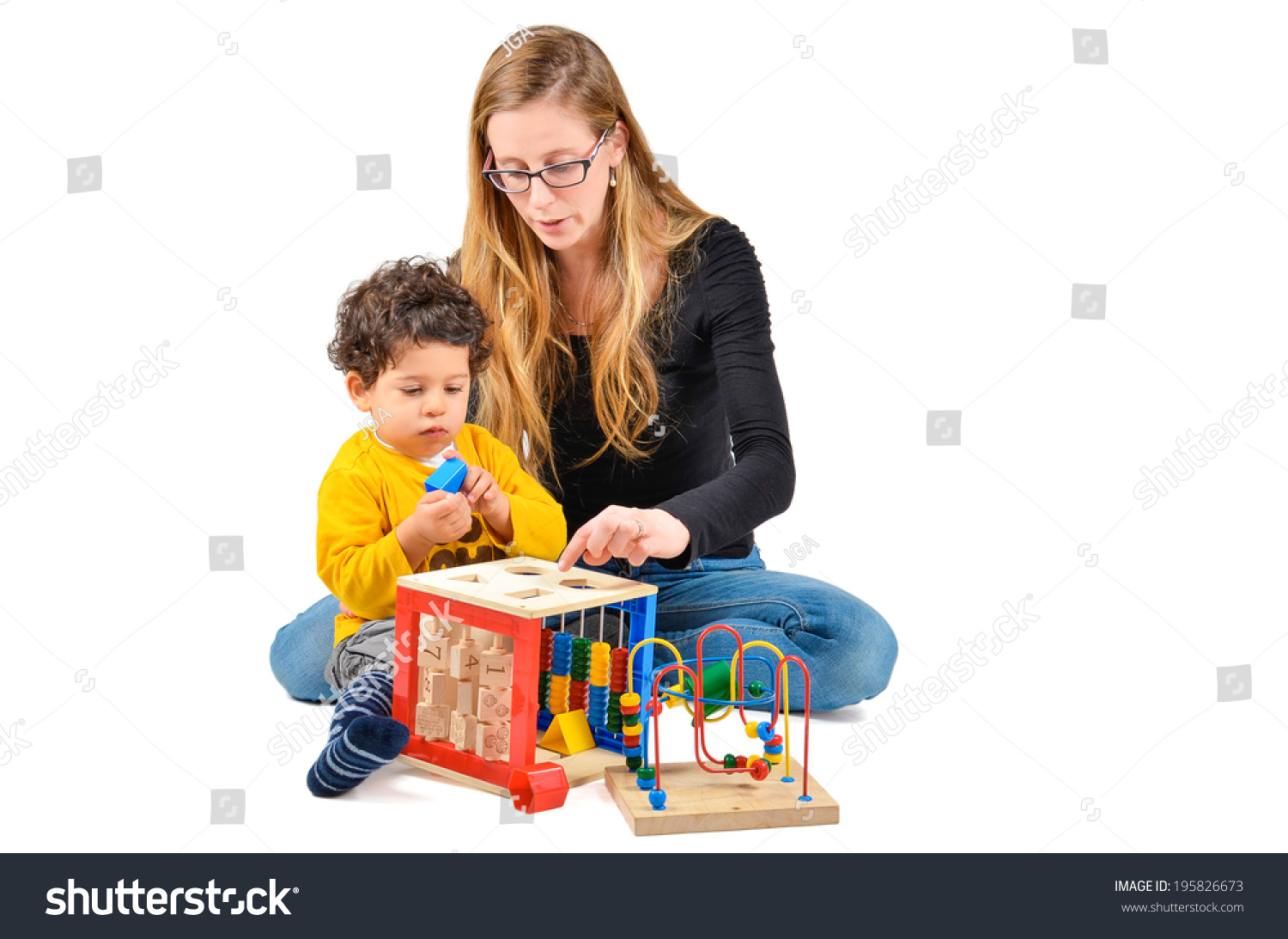 Musical Toys For Autistic Boys : Mother son playing together part creative stock photo