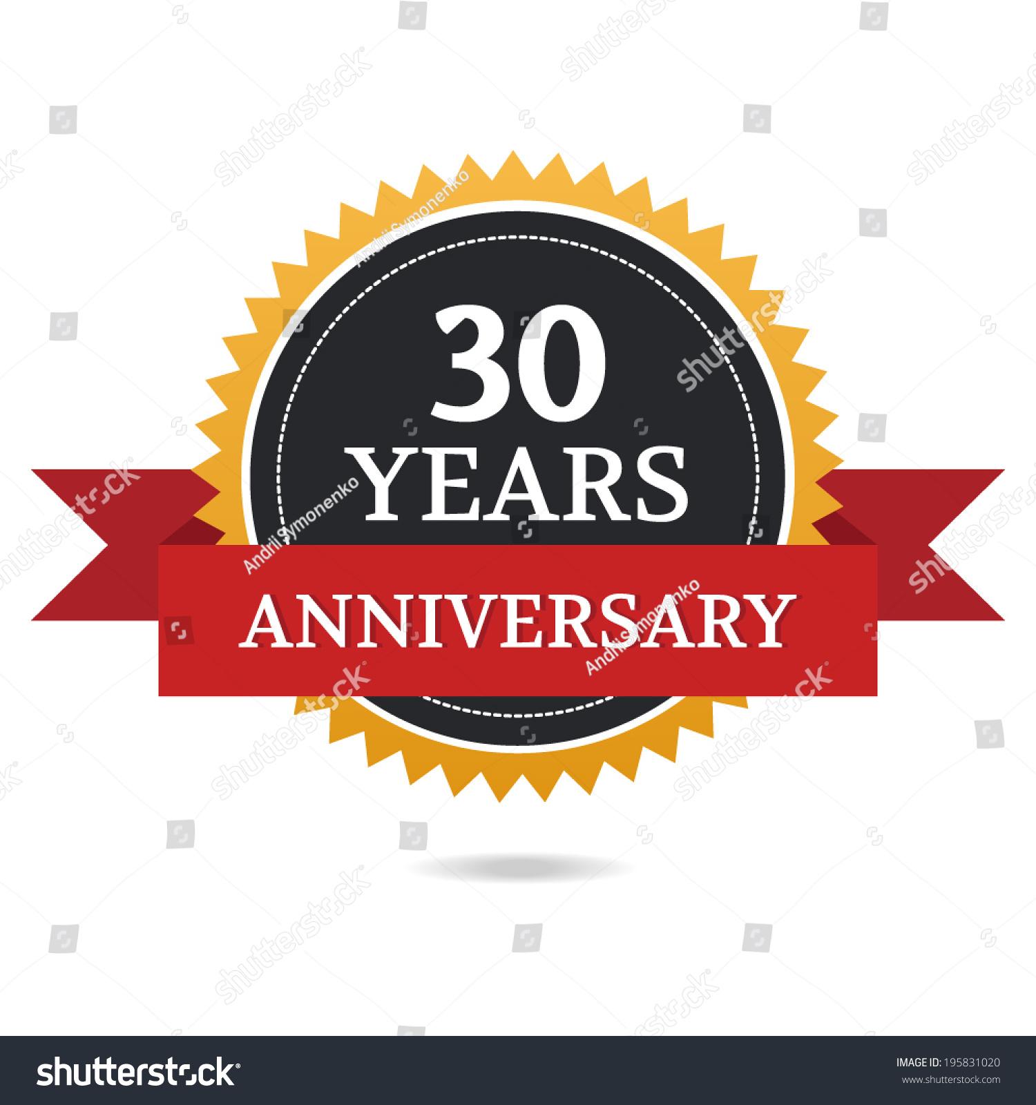 30 Year Anniversary Symbol: Anniversary 30th Stock Vector 195831020
