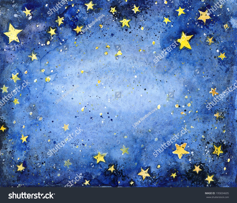 Watercolor Starry Sky Tutorial Stock Photo Watercolor Starry Sky