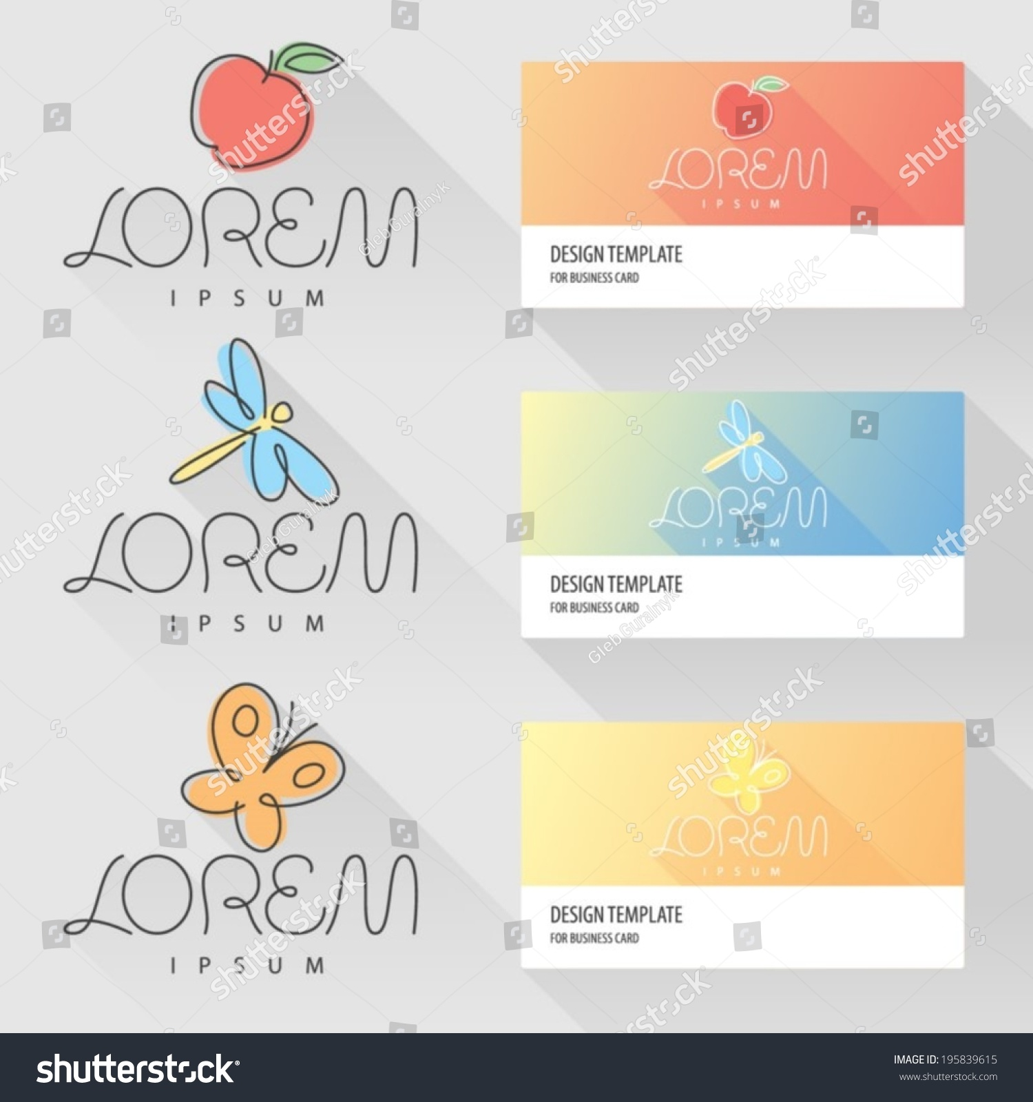 Apple Dragonfly Butterfly Logo Design Elements Stock Vector ...
