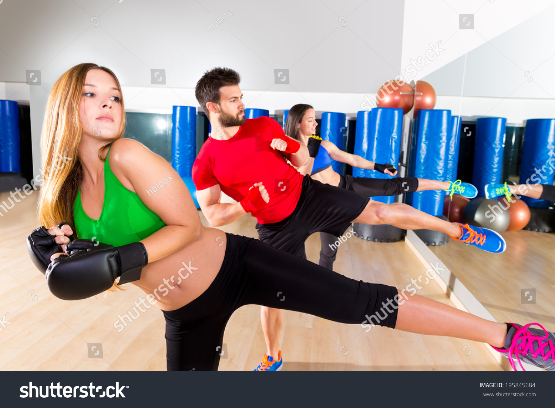 Boxing Aerobox Group Low Kick Training At Fitness Gym ...