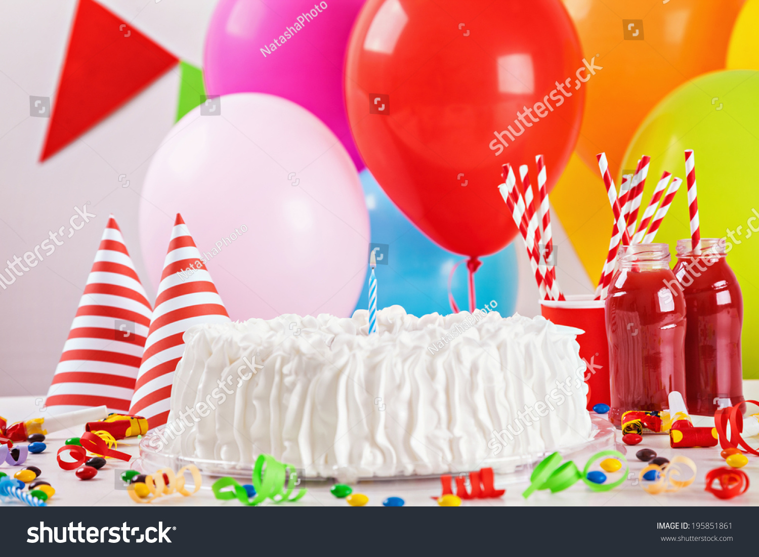 Birthday cake on colorful balloon background stock photo for Balloon cake decoration