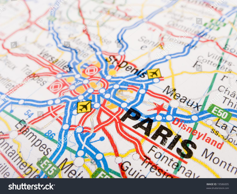 close up of a road map of paris