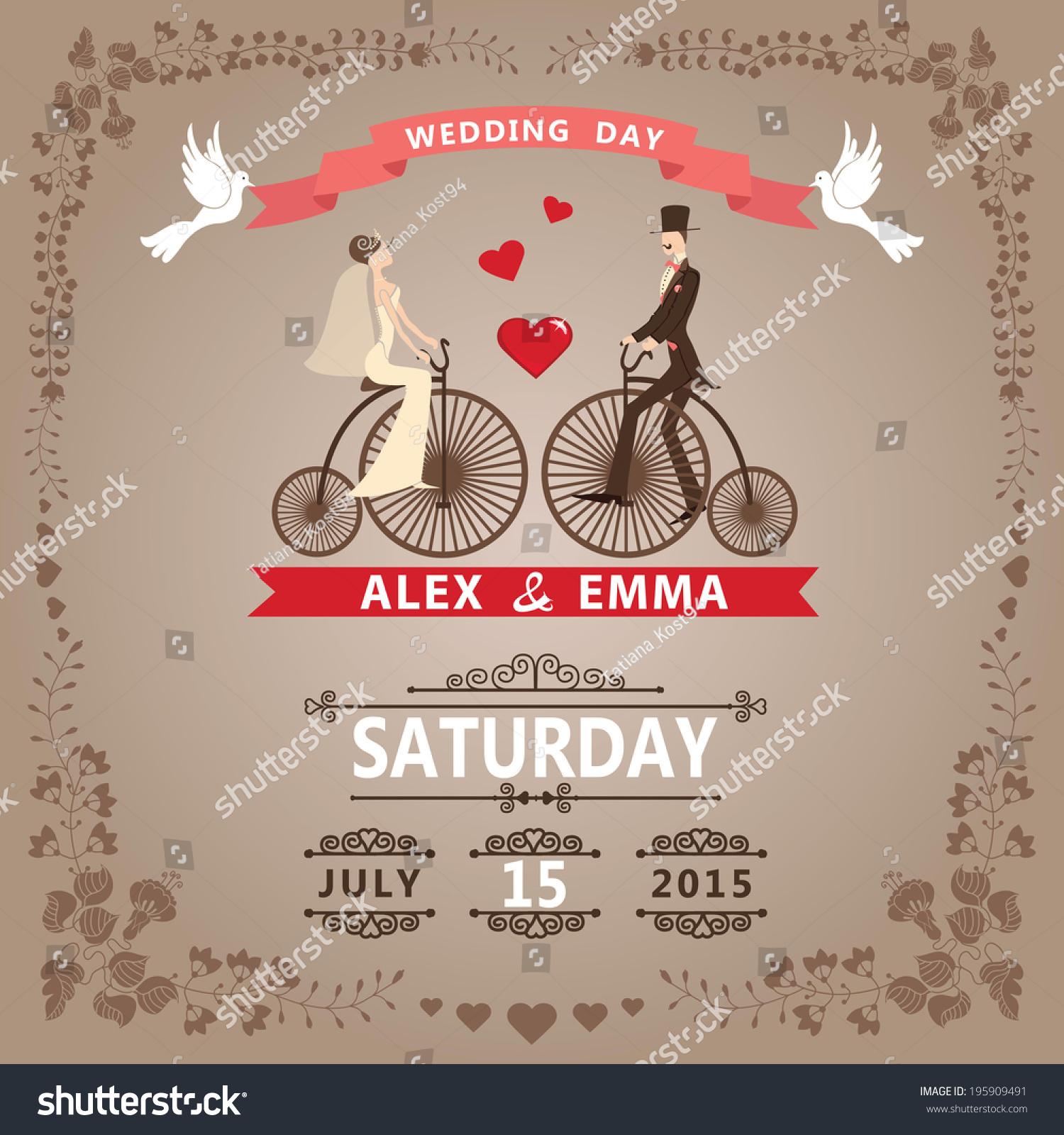 Wedding Invitation Design Template Cartoon Pigeons Bride Stock ...
