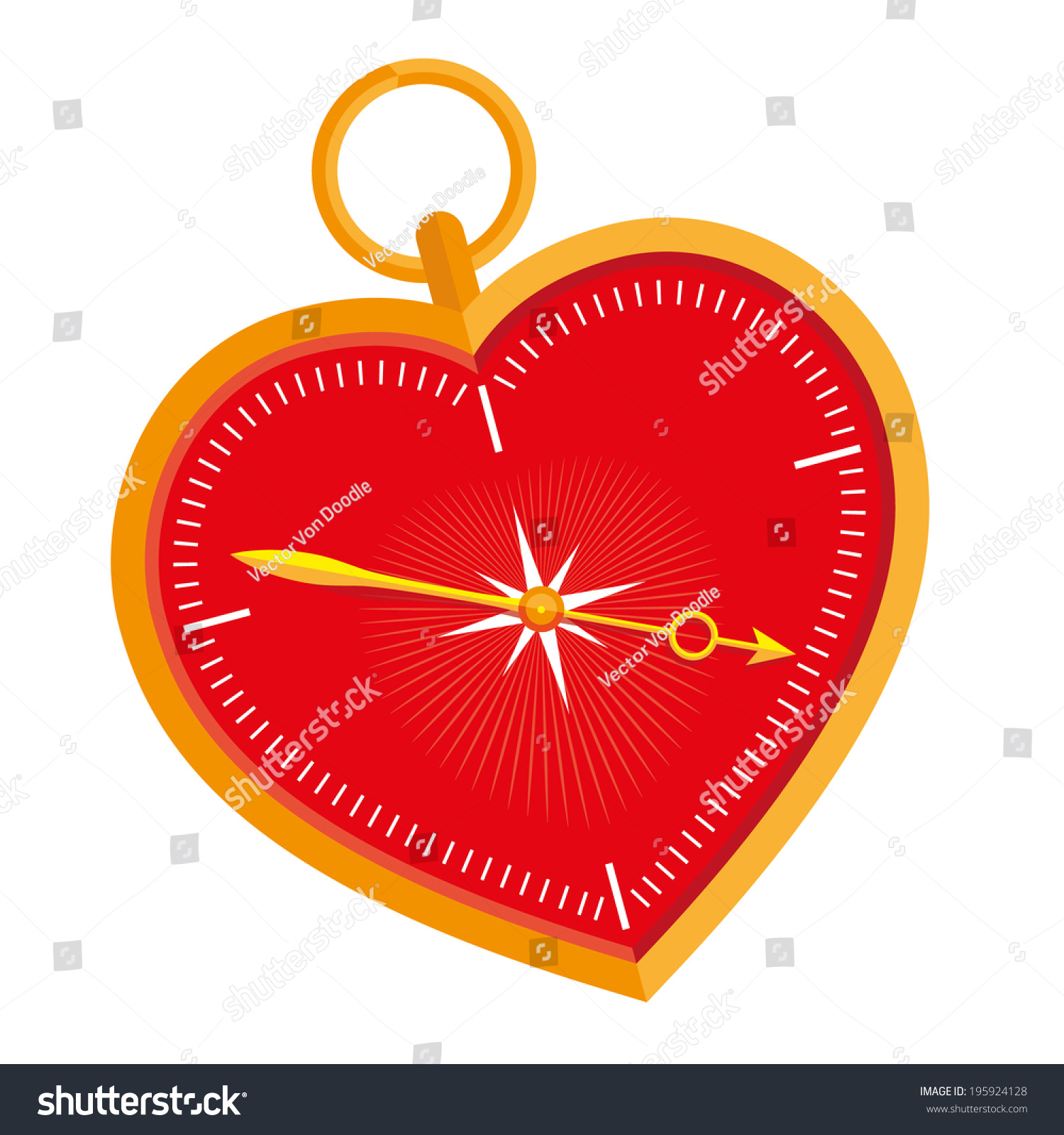 Emotional Compass Heartshaped Compass Follow Your Stock Vector