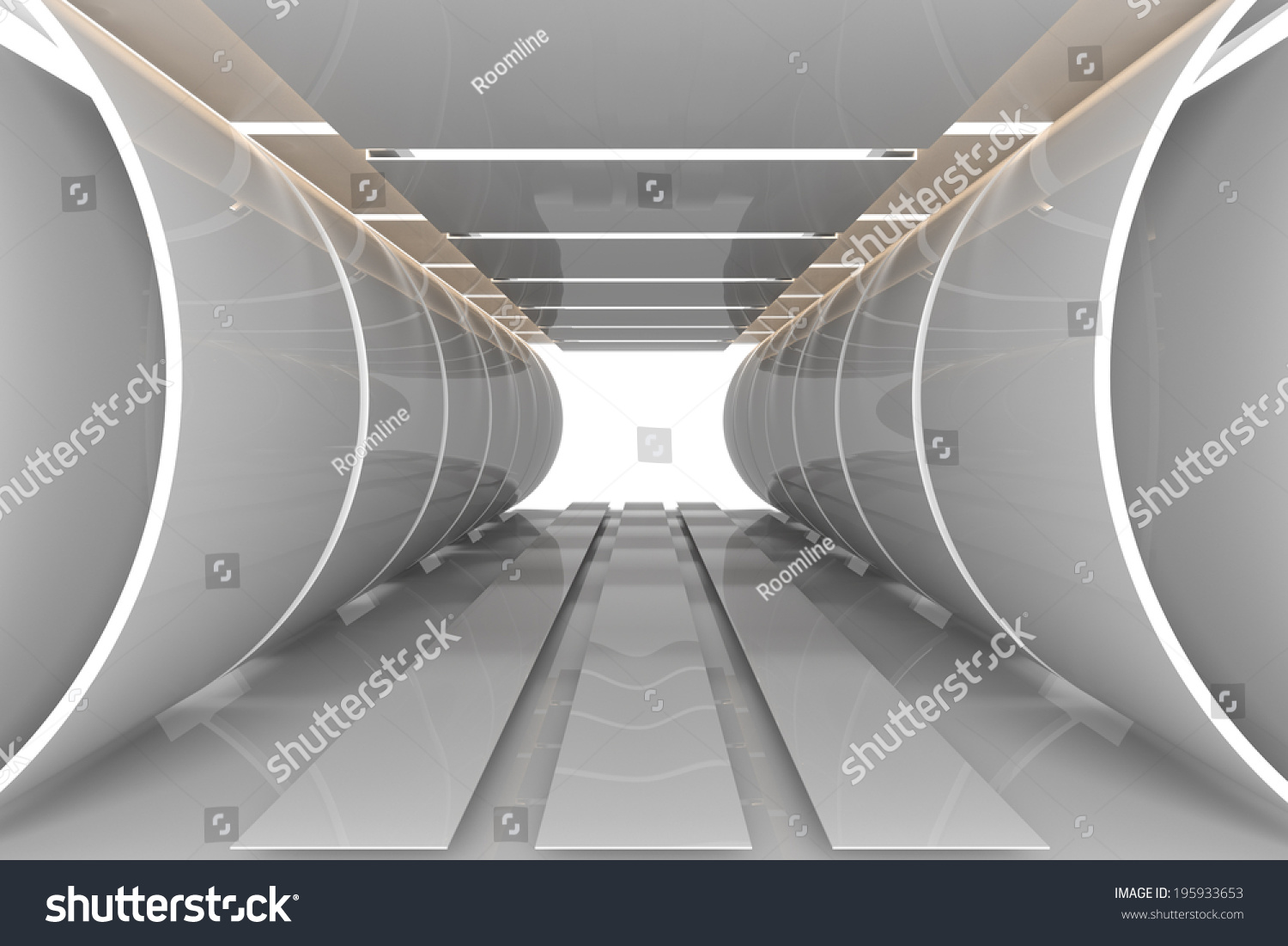 Futuristic Interior Curve Empty Room With Reflective Materials Stock