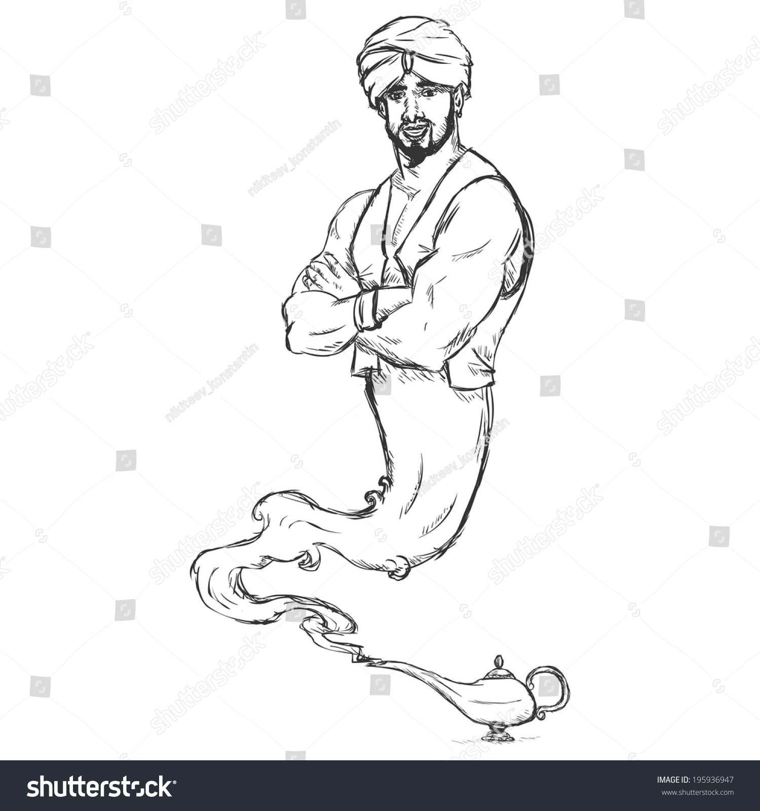 Vector Sketch Genie Magic Lamp Stock Vector 195936947 - Shutterstock for Magic Lamp Drawing  45jwn