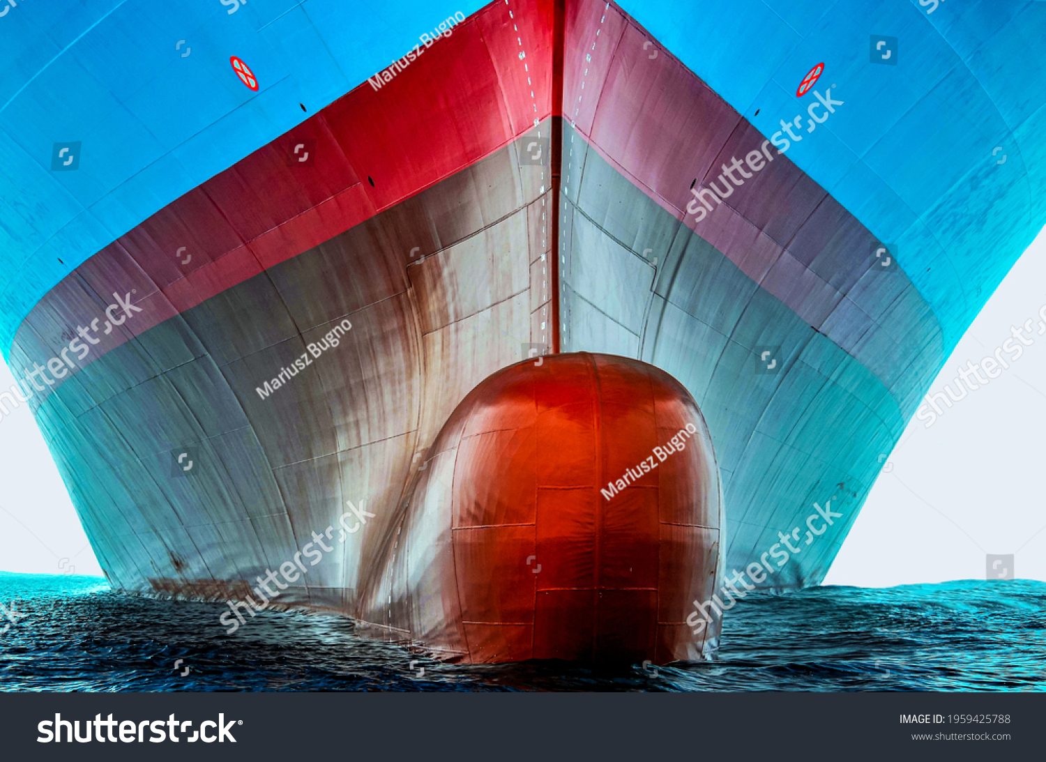 Front view of the large cargo ship bulbous bow, she is freshly painted.   #1959425788