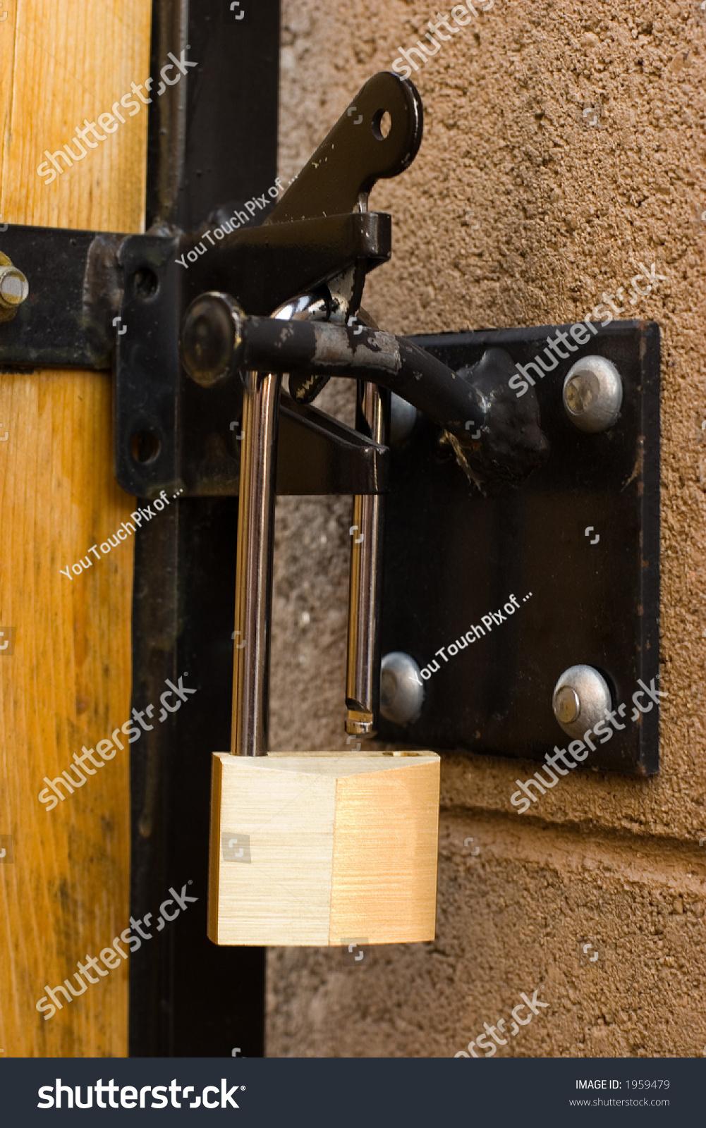 backyard door long handle lock focus stock photo 1959479