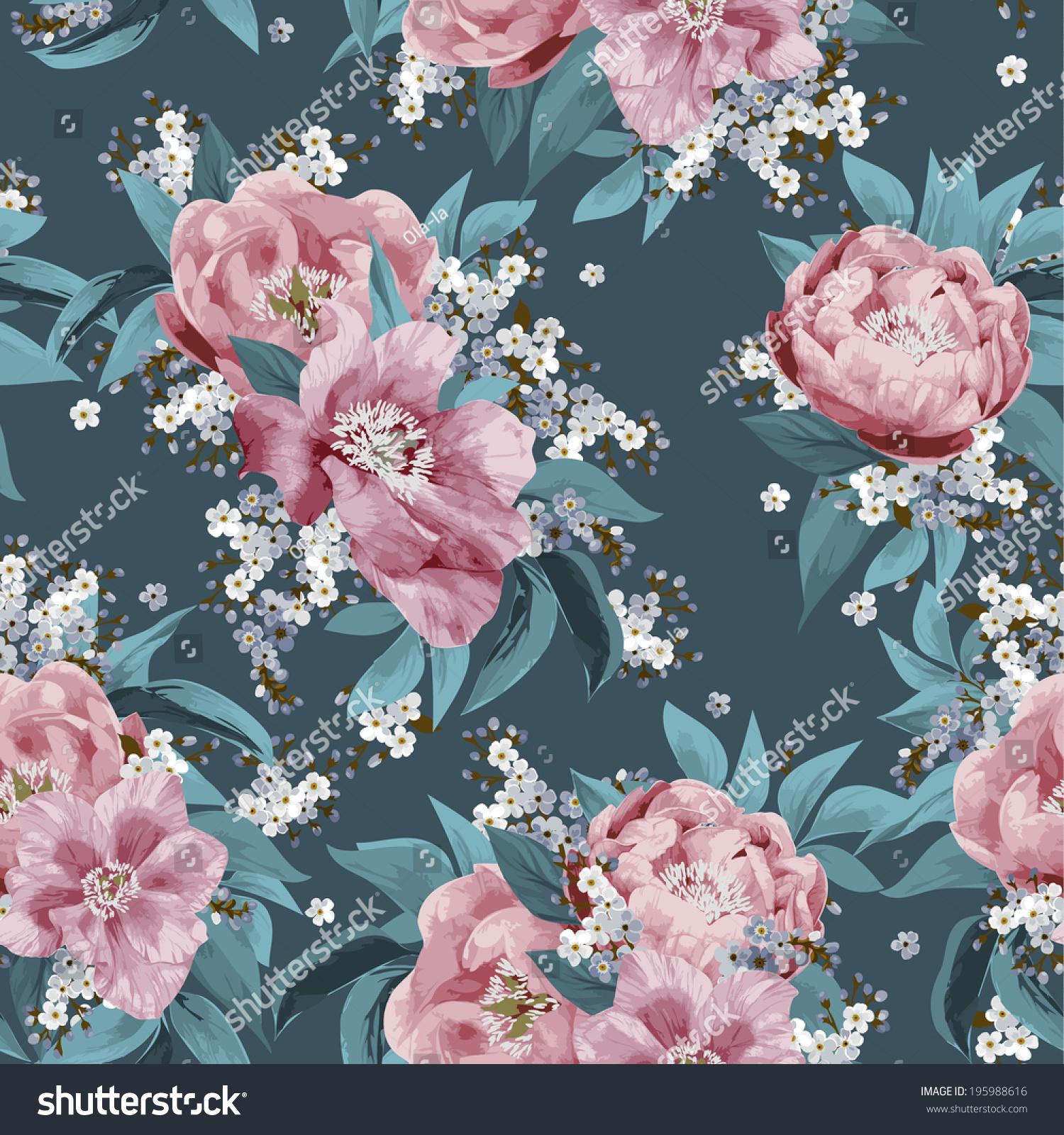 Pink floral seamless vector background floral hrysanthemum seamless - Seamless Floral Pattern With Pink Roses On Dark Background Vector Illustration