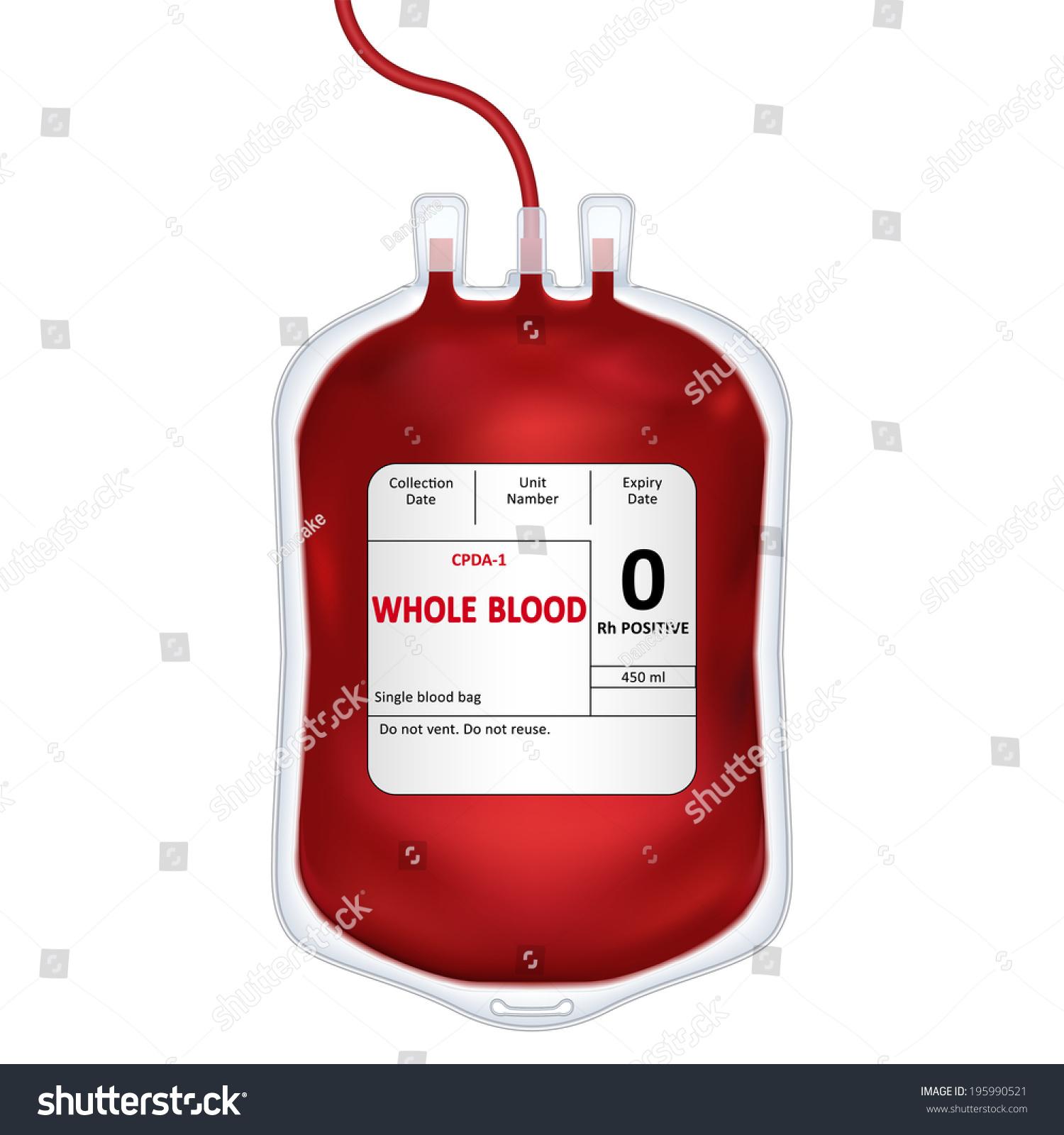 Blood Bag Label Text Whole Blood Stock Illustration 195990521 ...