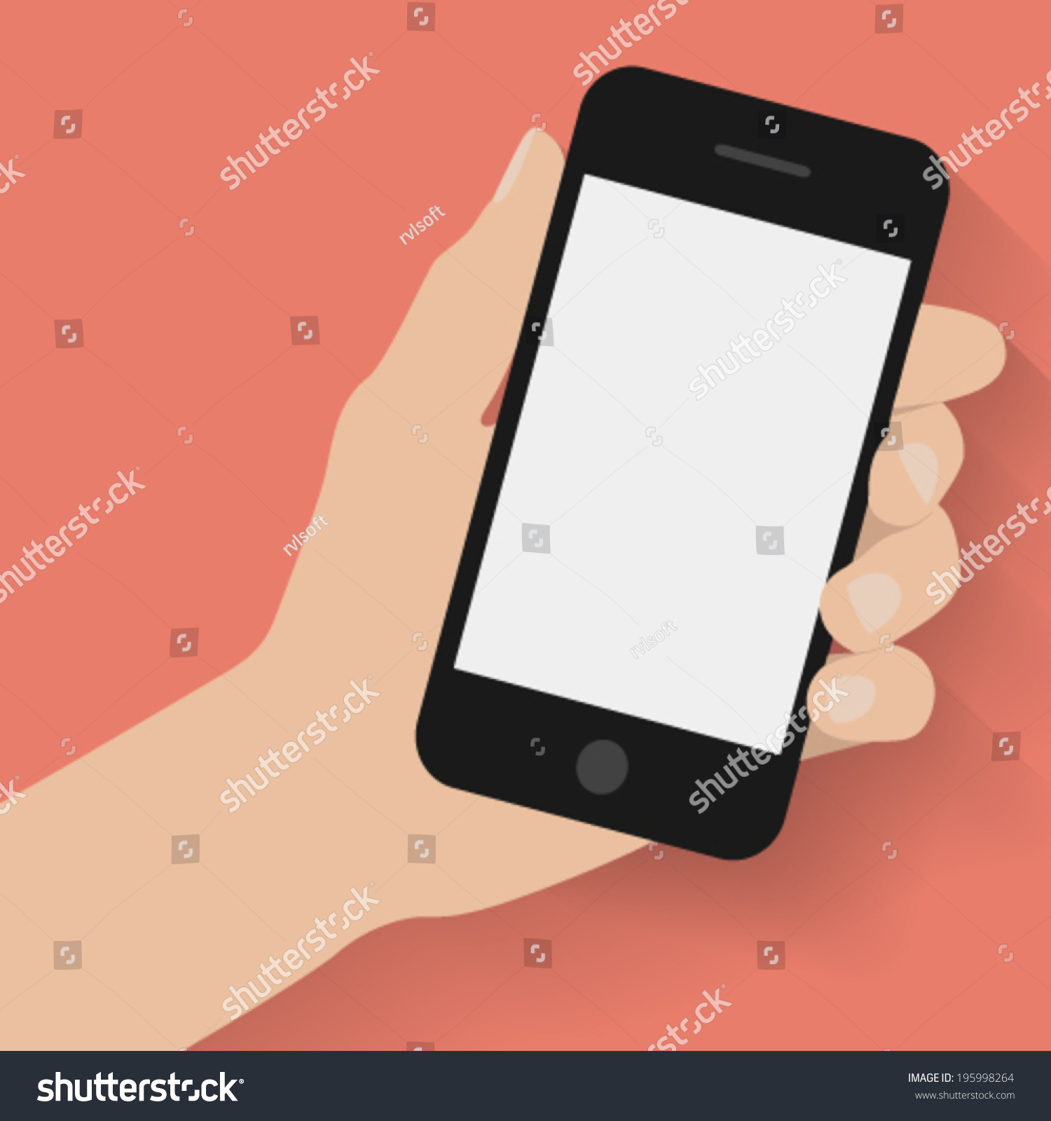 Hand Holding Smart Phone On Red Background. Flat Design ...