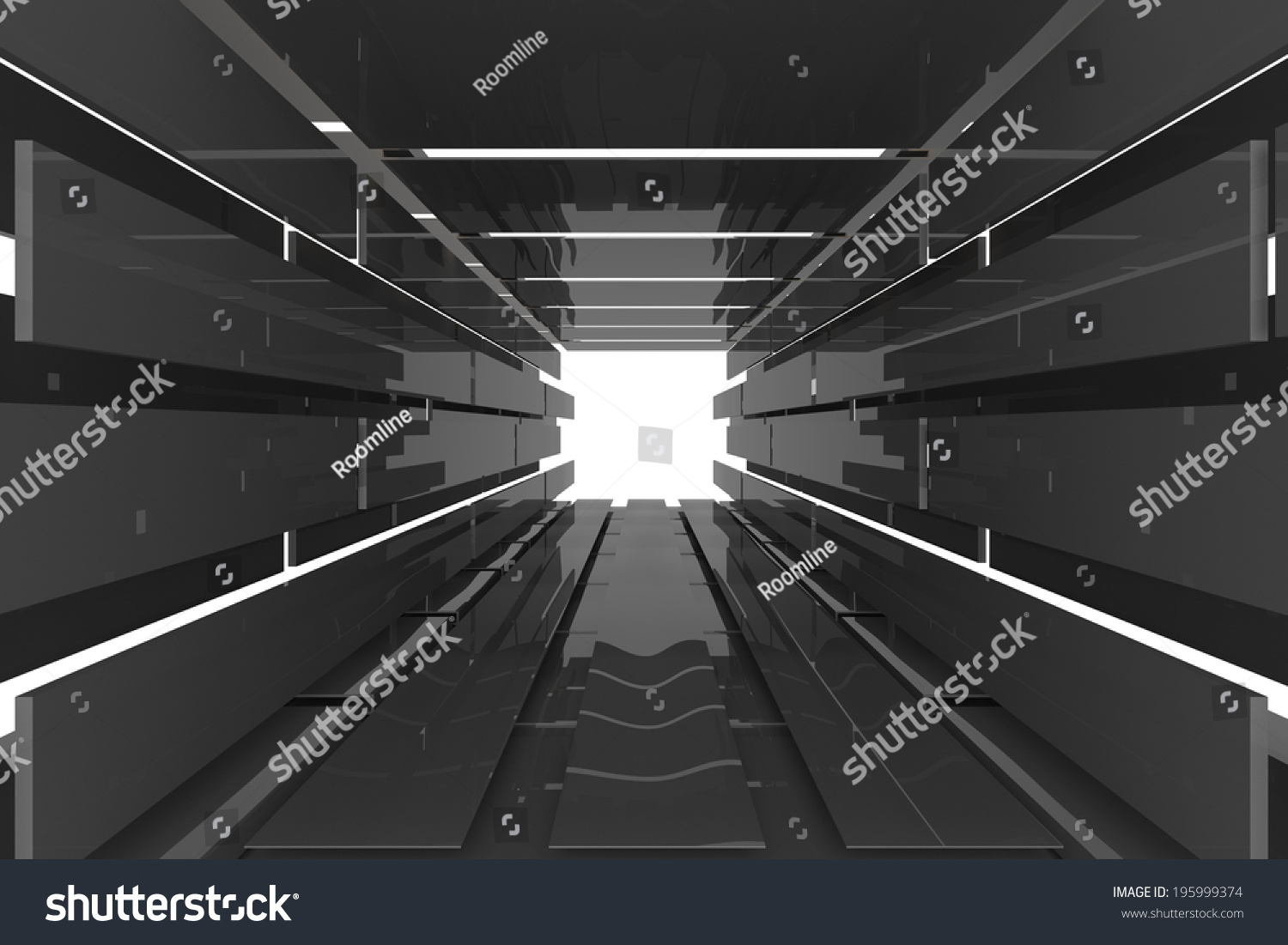 Futuristic Interior Empty Room With Black Reflective Materials Imagen