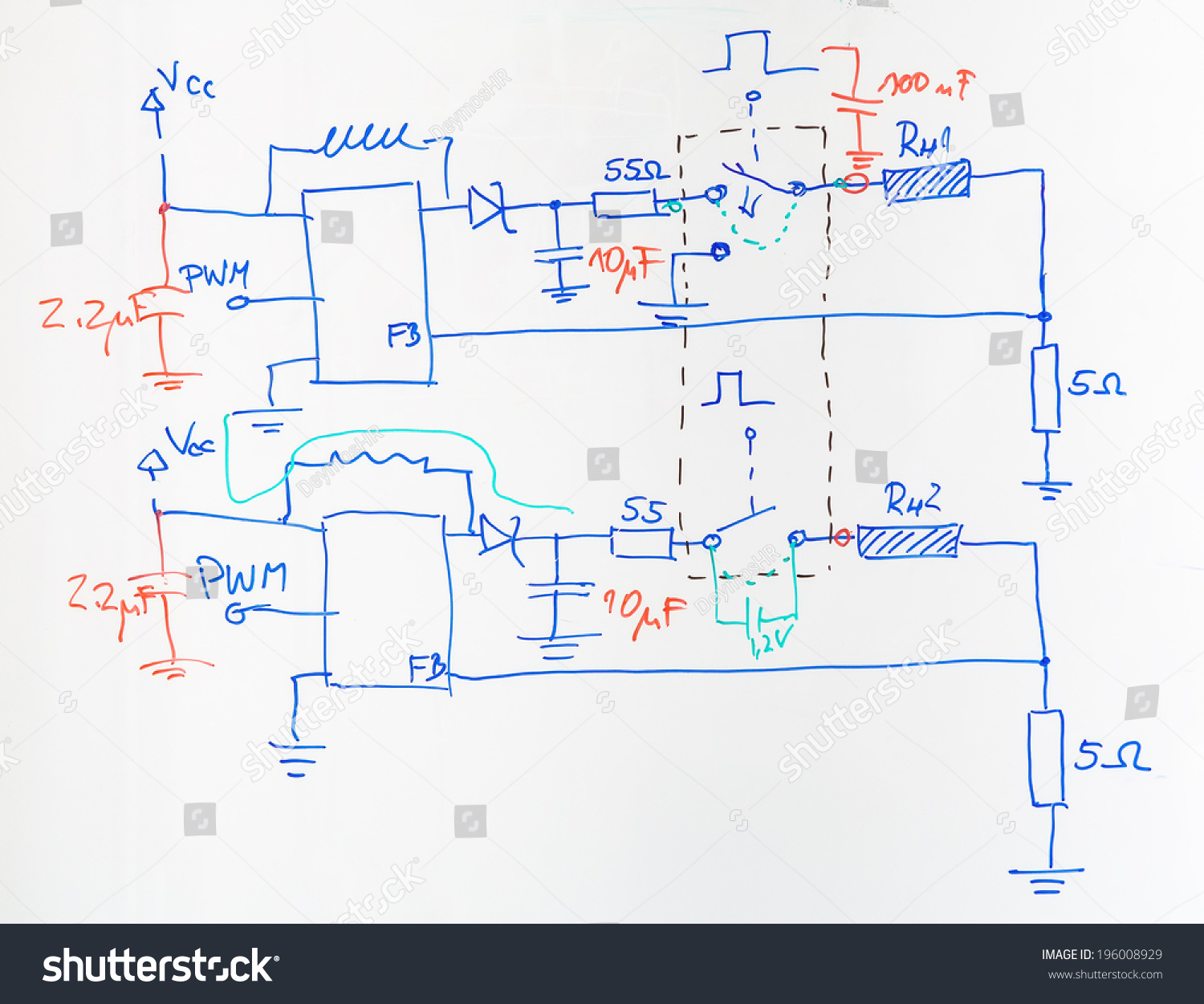 Electrical Scheme Hand Drawn Blue Red Stock Photo (Royalty Free ...
