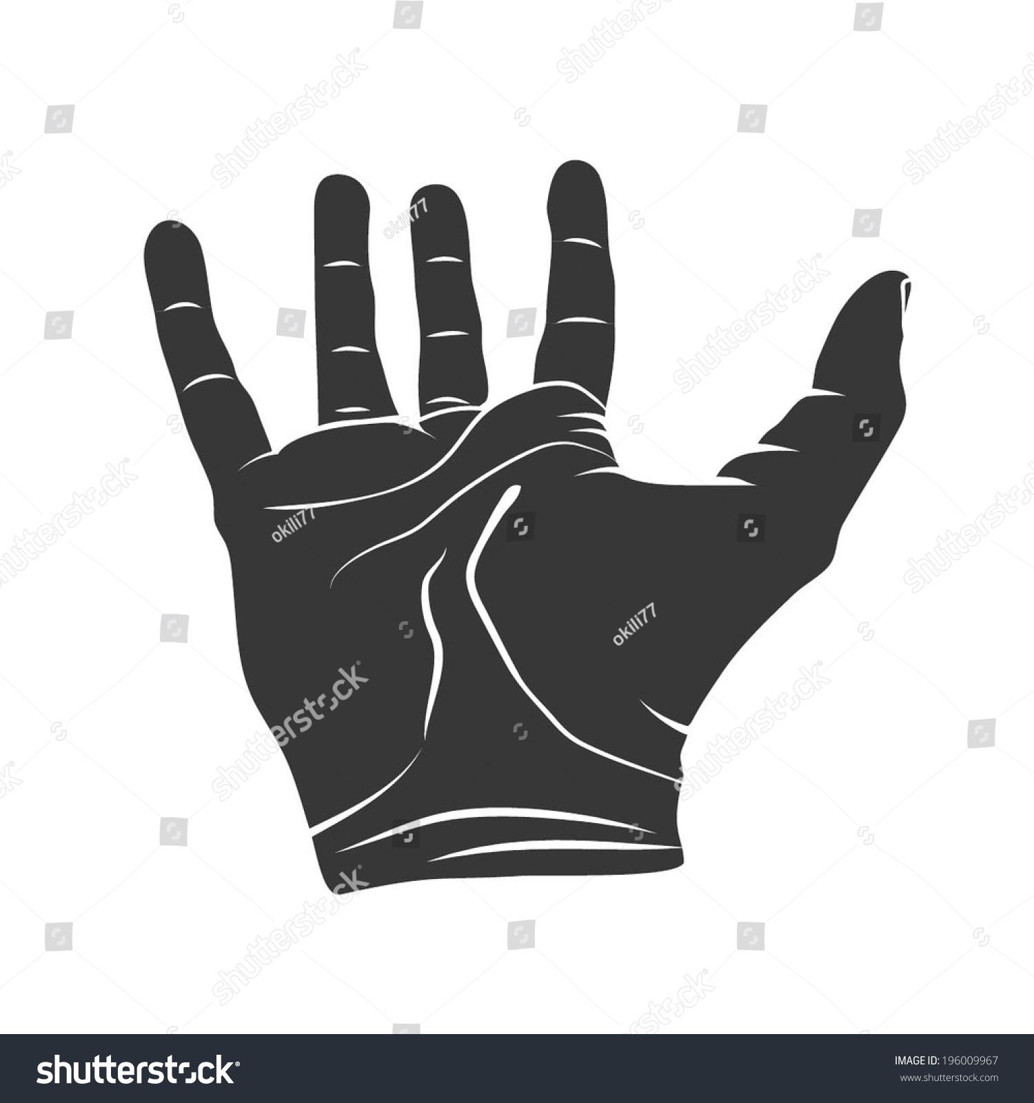 Open Hand Silhouette Vector Stock Vector 196009967 ...