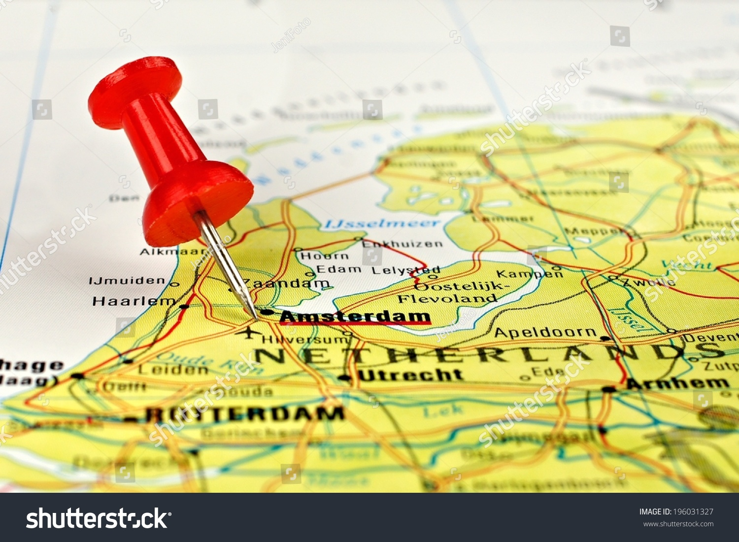 Close Amsterdam On Map Red Pin Stock Photo 196031327 Shutterstock